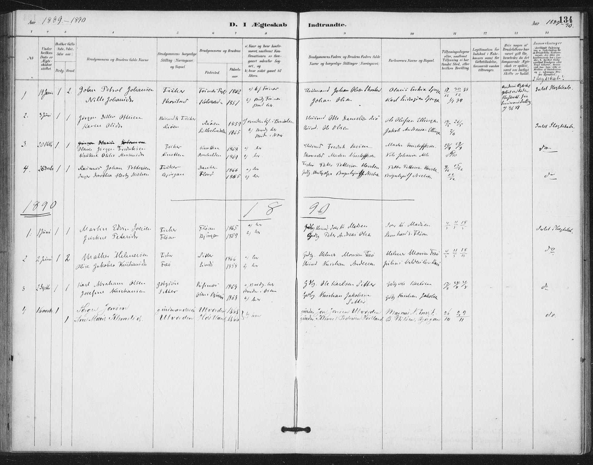 SAT, Ministerialprotokoller, klokkerbøker og fødselsregistre - Nord-Trøndelag, 772/L0603: Ministerialbok nr. 772A01, 1885-1912, s. 134