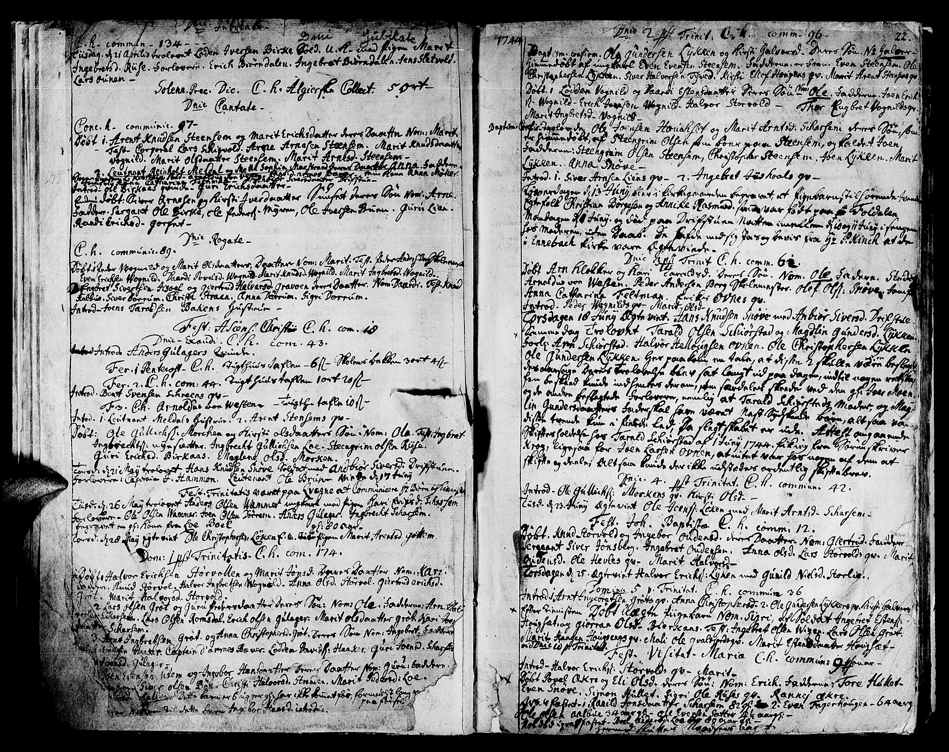 SAT, Ministerialprotokoller, klokkerbøker og fødselsregistre - Sør-Trøndelag, 678/L0891: Ministerialbok nr. 678A01, 1739-1780, s. 22