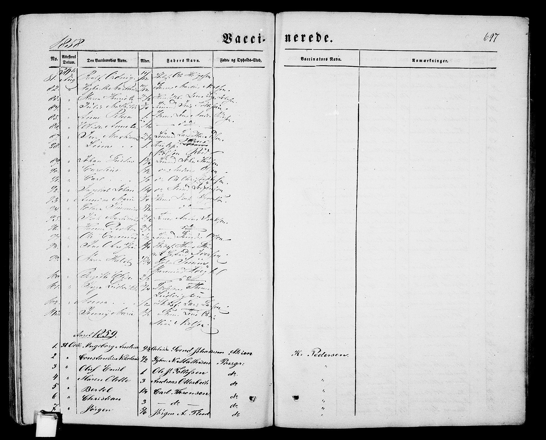 SAKO, Porsgrunn kirkebøker , G/Gb/L0004: Klokkerbok nr. II 4, 1853-1882, s. 697