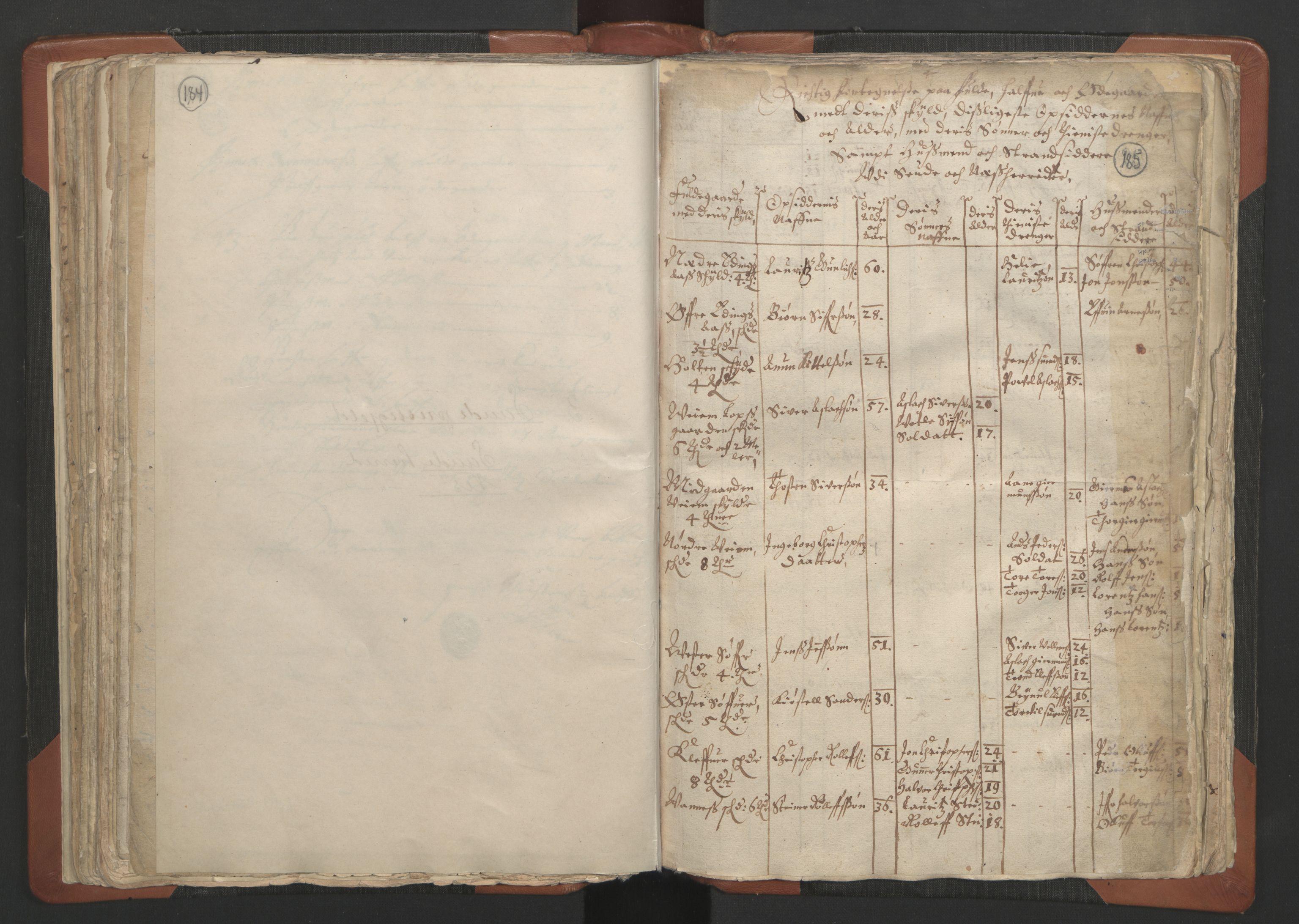 RA, Sogneprestenes manntall 1664-1666, nr. 12: Øvre Telemark prosti, Nedre Telemark prosti og Bamble prosti, 1664-1666, s. 184-185