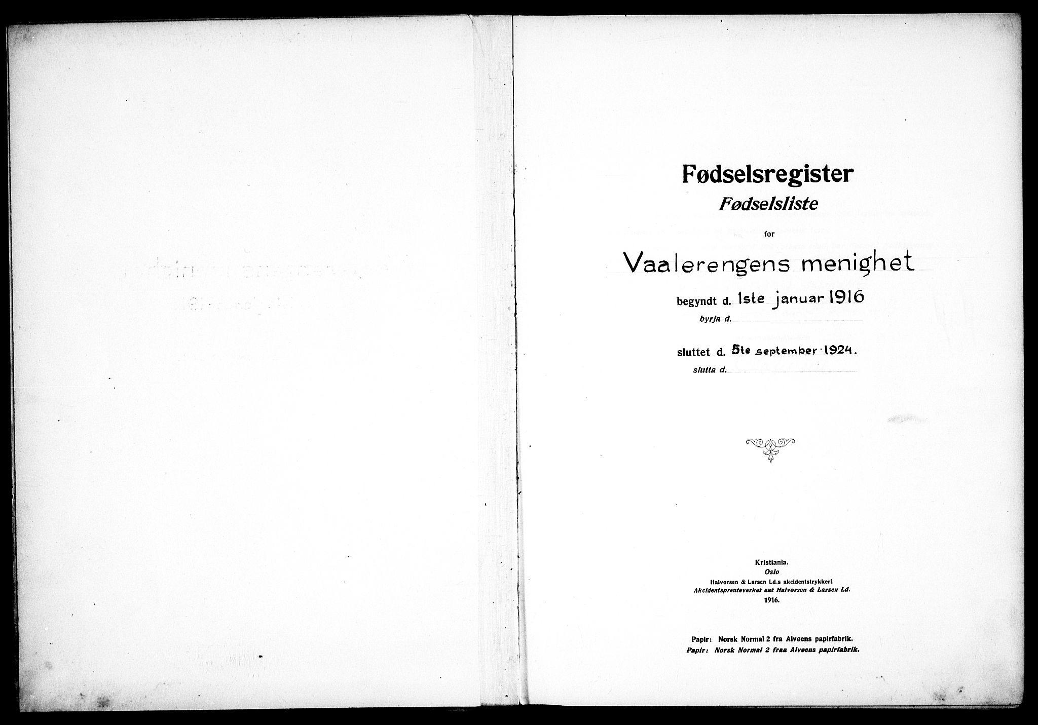 SAO, Vålerengen prestekontor Kirkebøker, J/Ja/L0001: Fødselsregister nr. 1, 1916-1924