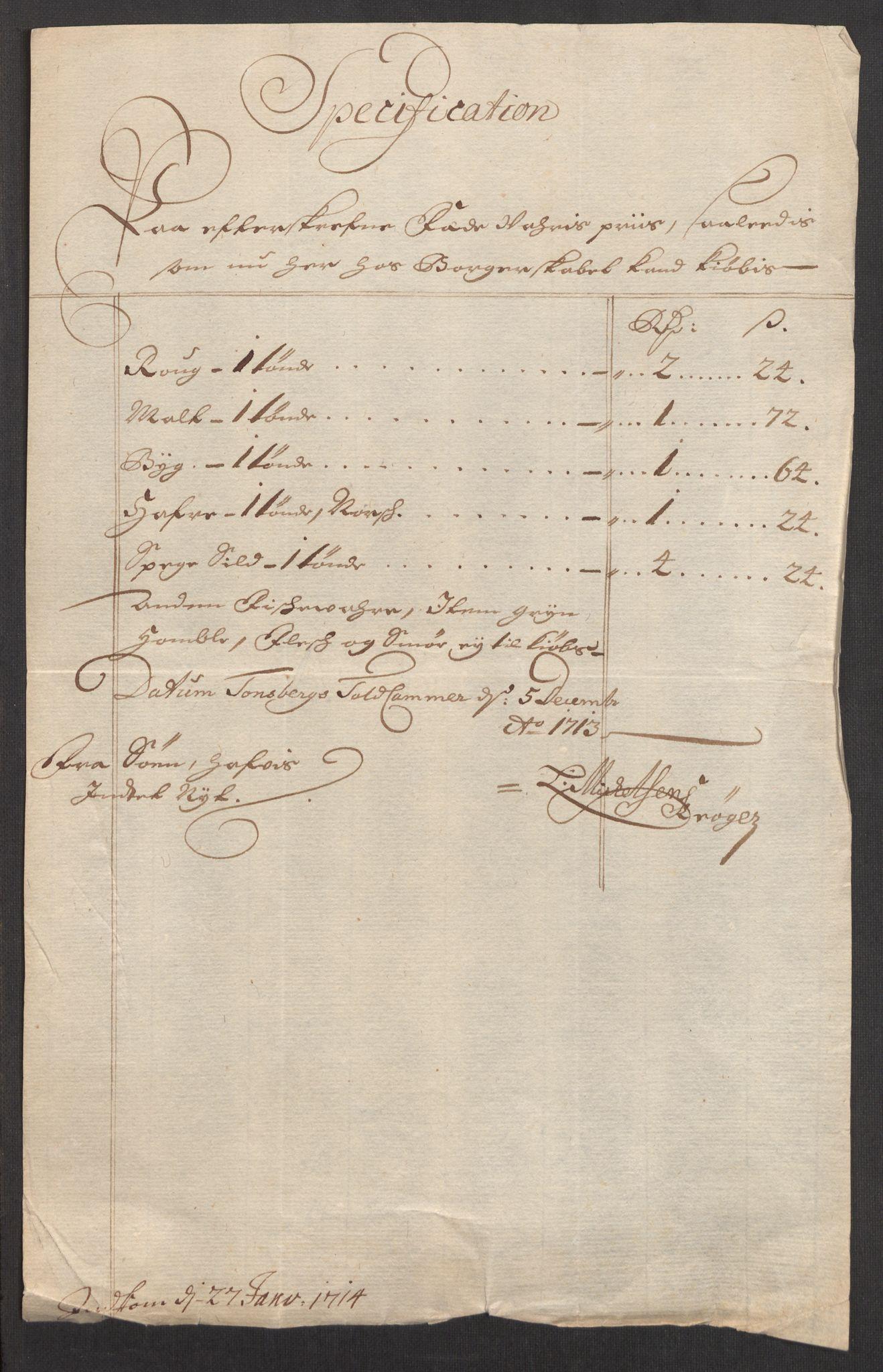 RA, Rentekammeret inntil 1814, Realistisk ordnet avdeling, Oe/L0001: [Ø1]: Priskuranter, 1712-1739, s. 22