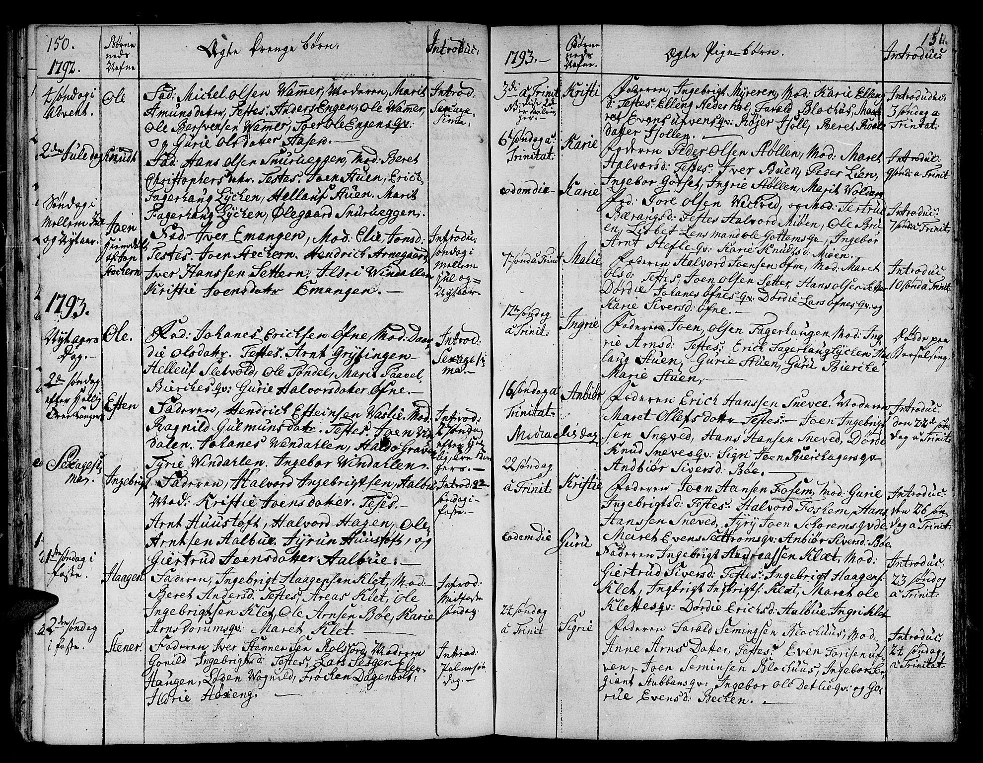 SAT, Ministerialprotokoller, klokkerbøker og fødselsregistre - Sør-Trøndelag, 678/L0893: Ministerialbok nr. 678A03, 1792-1805, s. 150-151