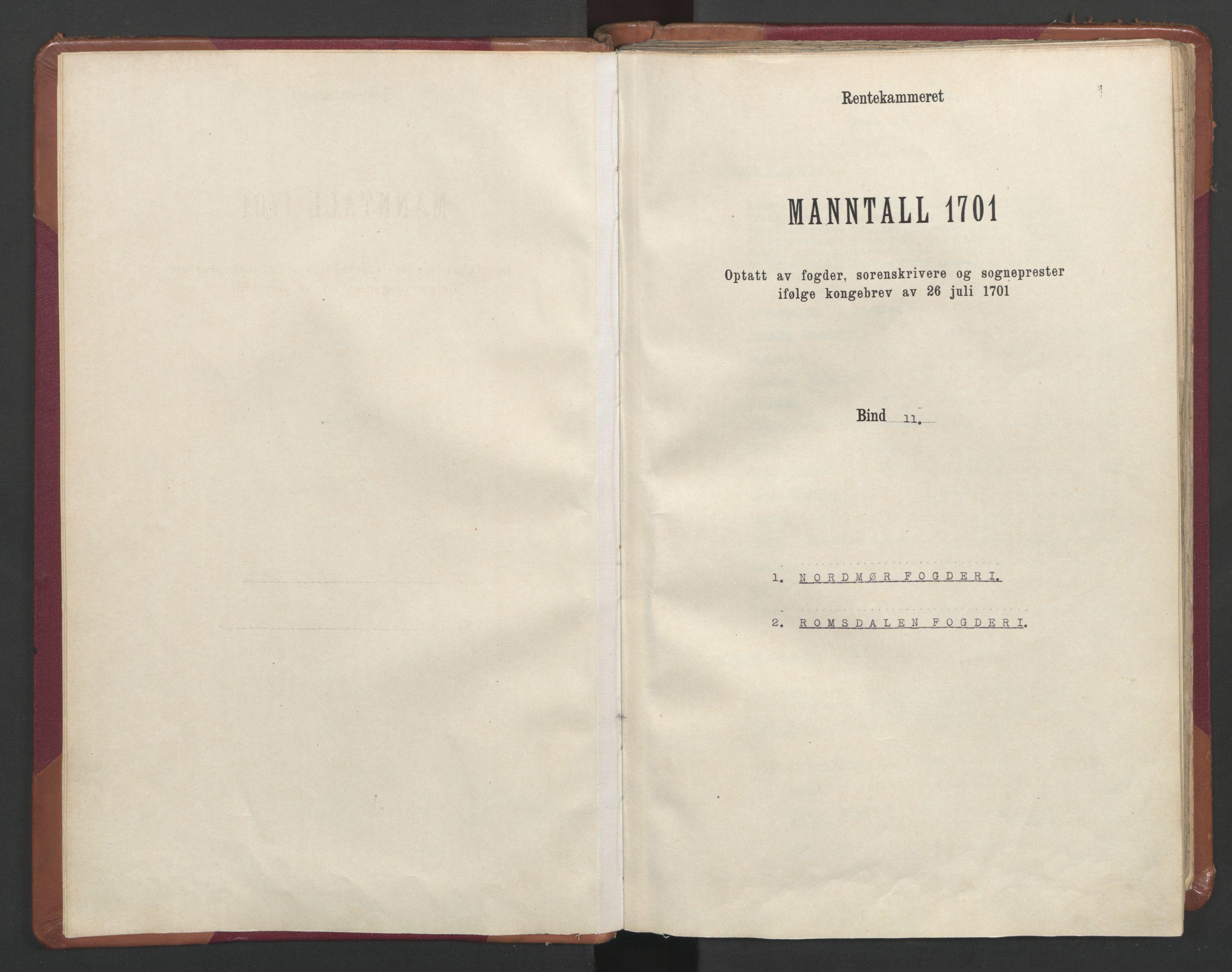 RA, Manntallet 1701, nr. 11: Nordmøre fogderi og Romsdal fogderi, 1701