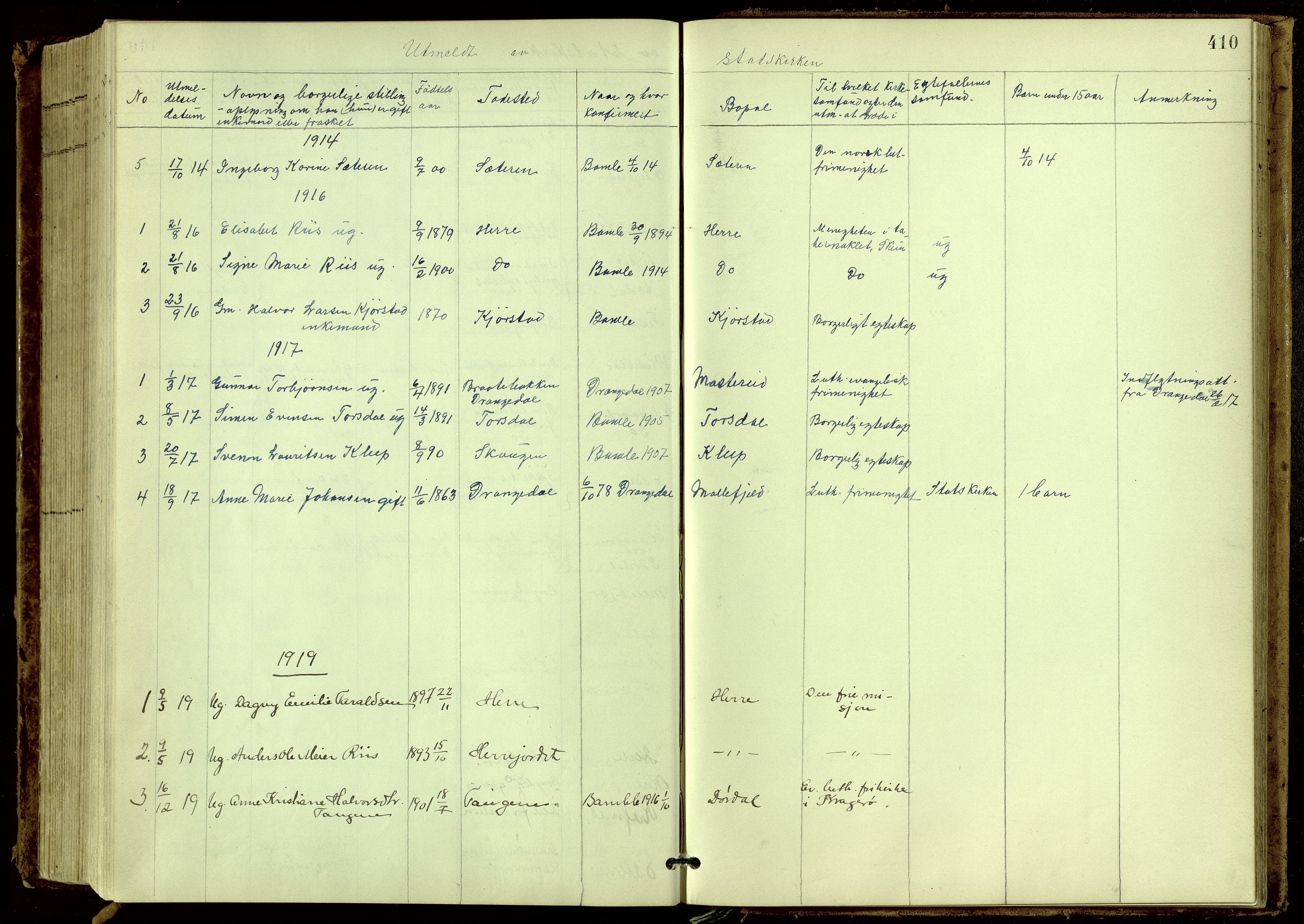 SAKO, Bamble kirkebøker, G/Ga/L0010: Klokkerbok nr. I 10, 1901-1919, s. 410