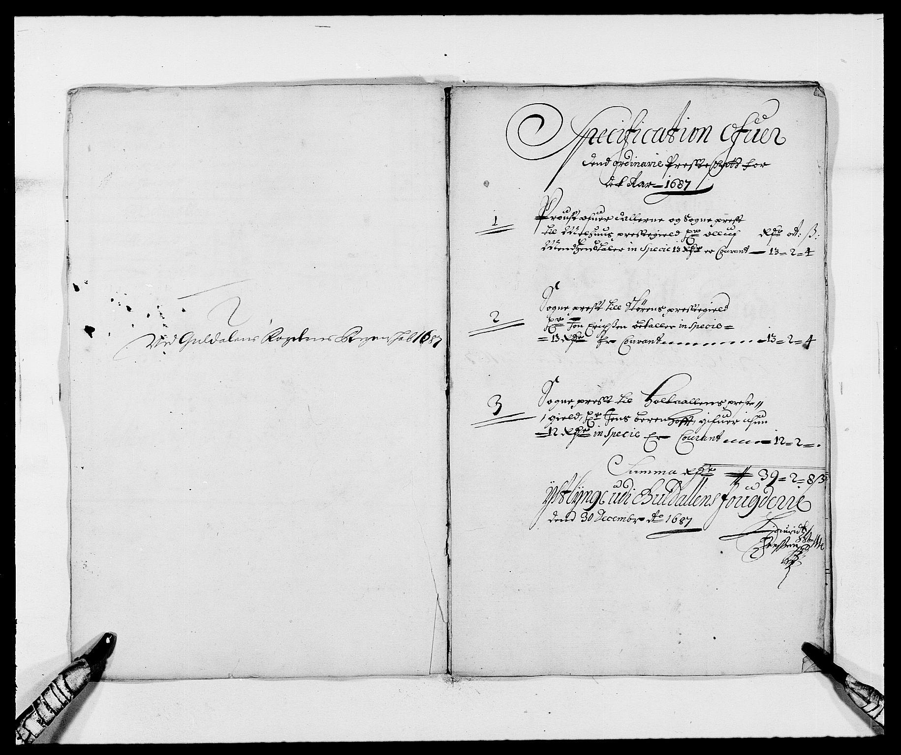RA, Rentekammeret inntil 1814, Reviderte regnskaper, Fogderegnskap, R59/L3939: Fogderegnskap Gauldal, 1687-1688, s. 11