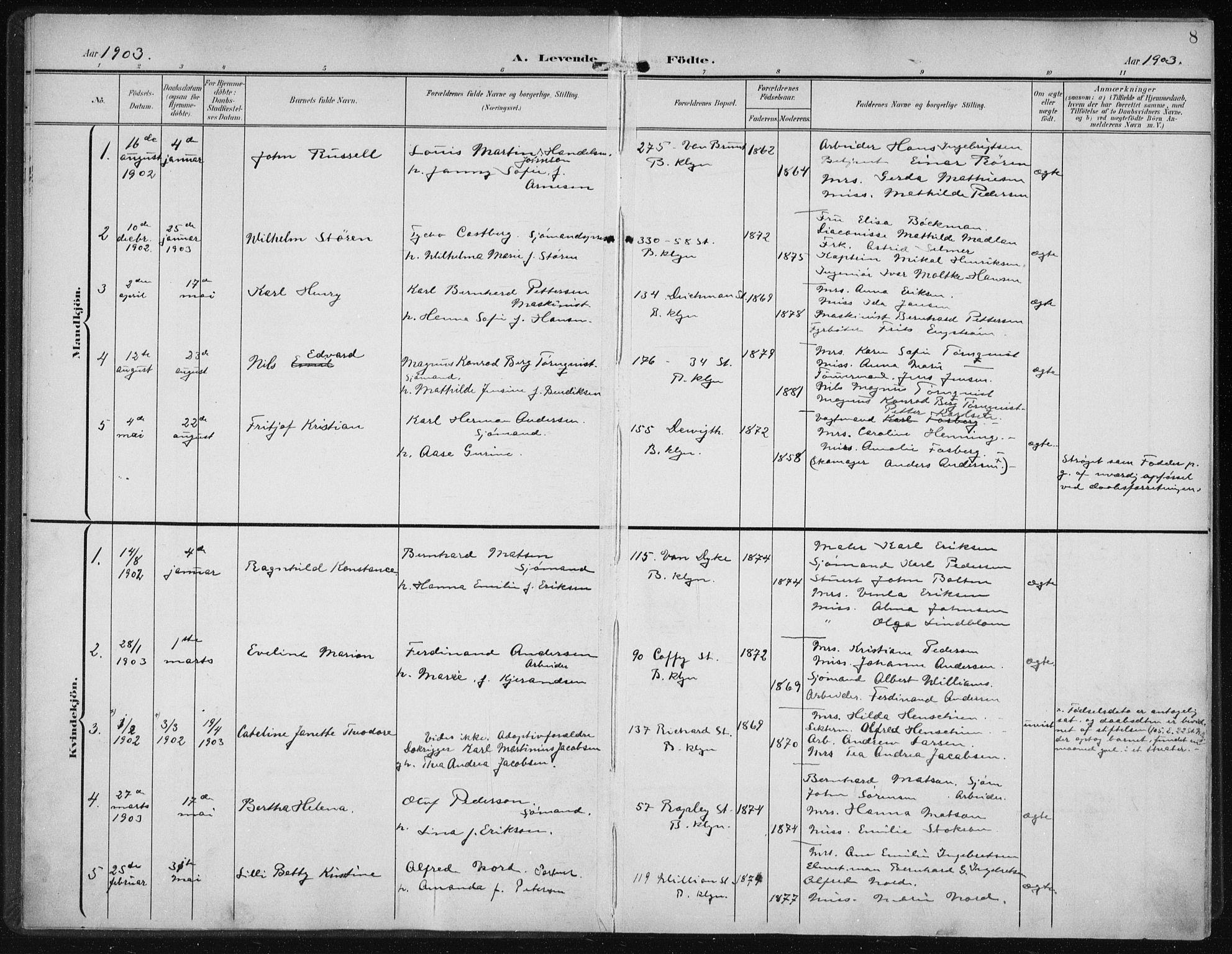 SAB, Den Norske Sjømannsmisjon i utlandet*, Ministerialbok nr. A 5, 1902-1908, s. 8