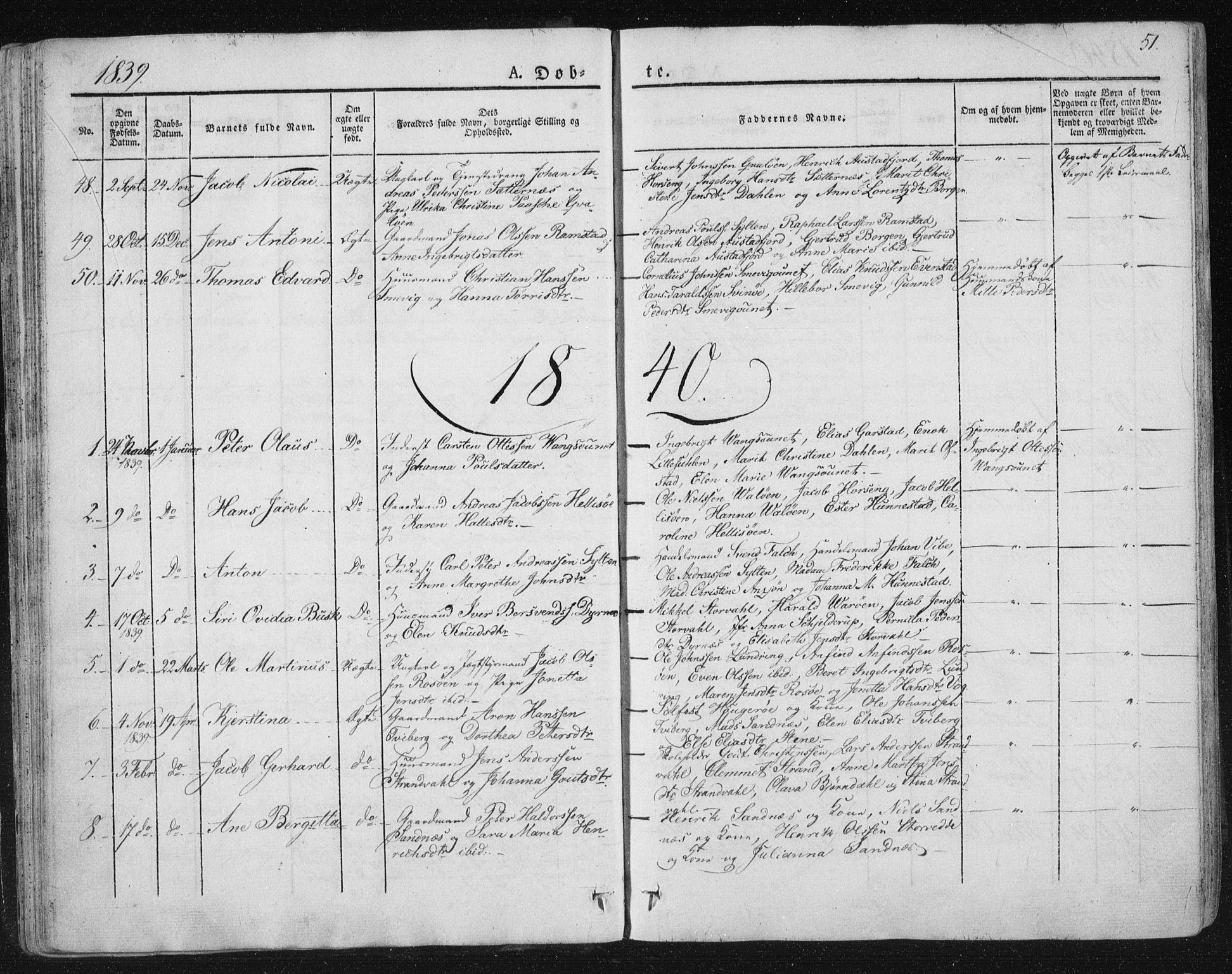 SAT, Ministerialprotokoller, klokkerbøker og fødselsregistre - Nord-Trøndelag, 784/L0669: Ministerialbok nr. 784A04, 1829-1859, s. 51