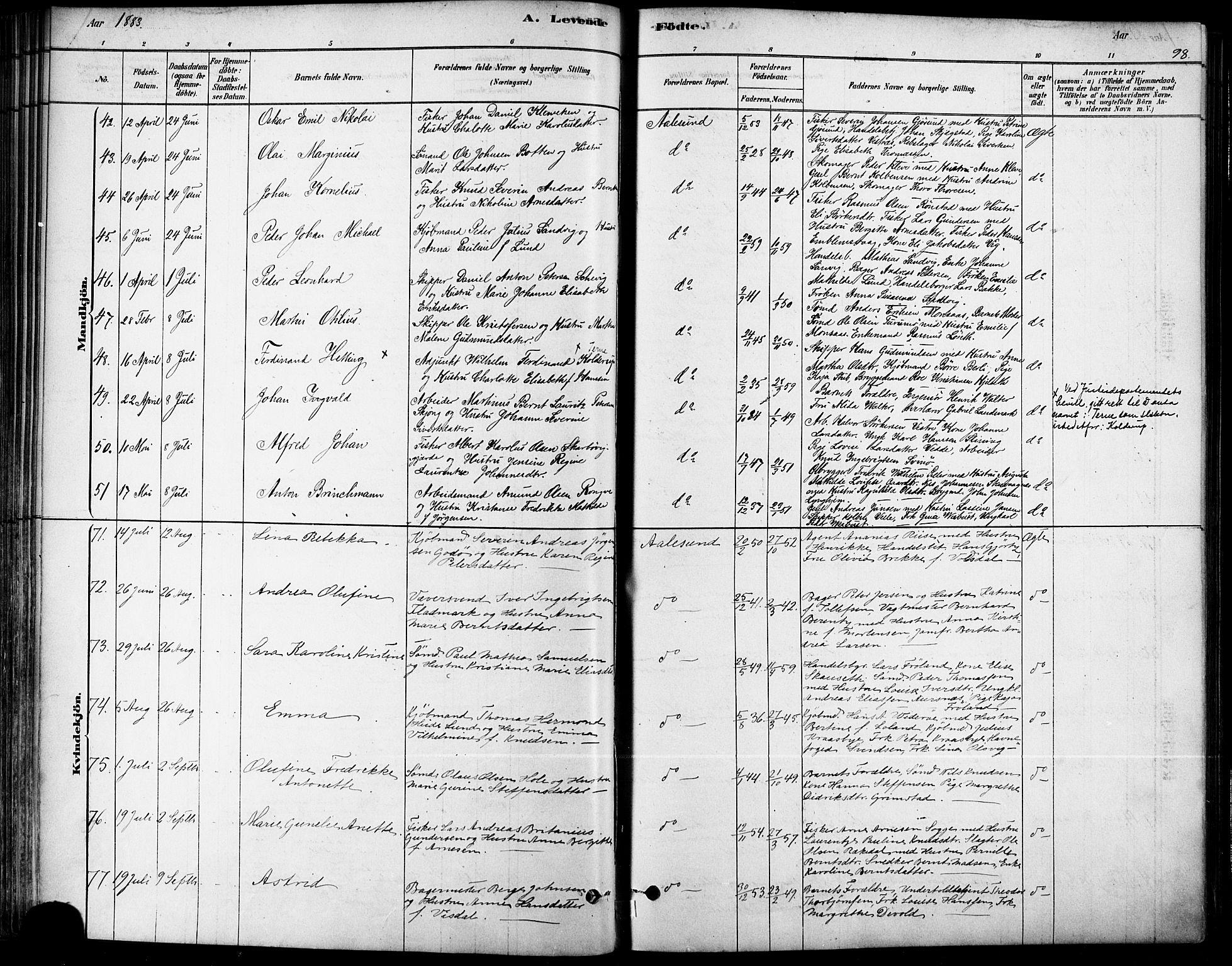 SAT, Ministerialprotokoller, klokkerbøker og fødselsregistre - Møre og Romsdal, 529/L0454: Ministerialbok nr. 529A04, 1878-1885, s. 98