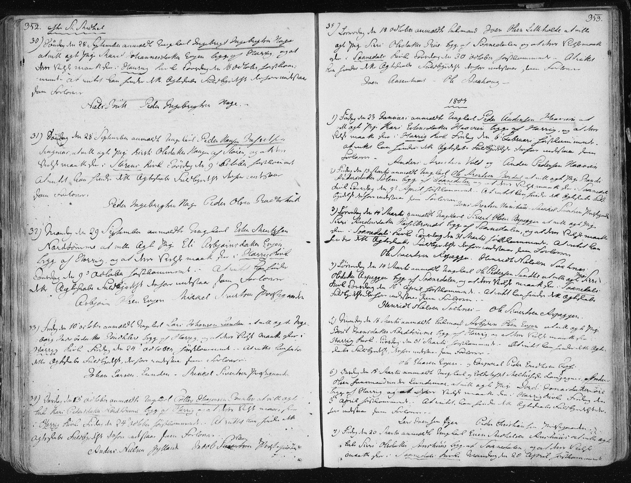 SAT, Ministerialprotokoller, klokkerbøker og fødselsregistre - Sør-Trøndelag, 687/L0992: Ministerialbok nr. 687A03 /1, 1788-1815, s. 352-353