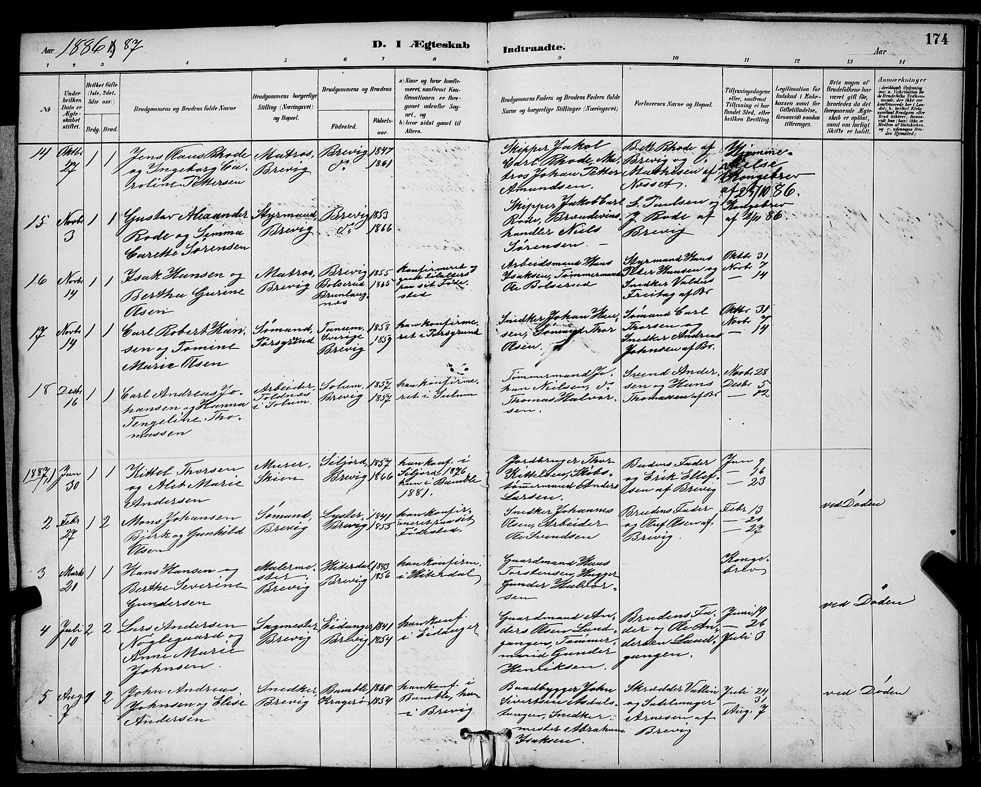 SAKO, Brevik kirkebøker, G/Ga/L0004: Klokkerbok nr. 4, 1882-1900, s. 174