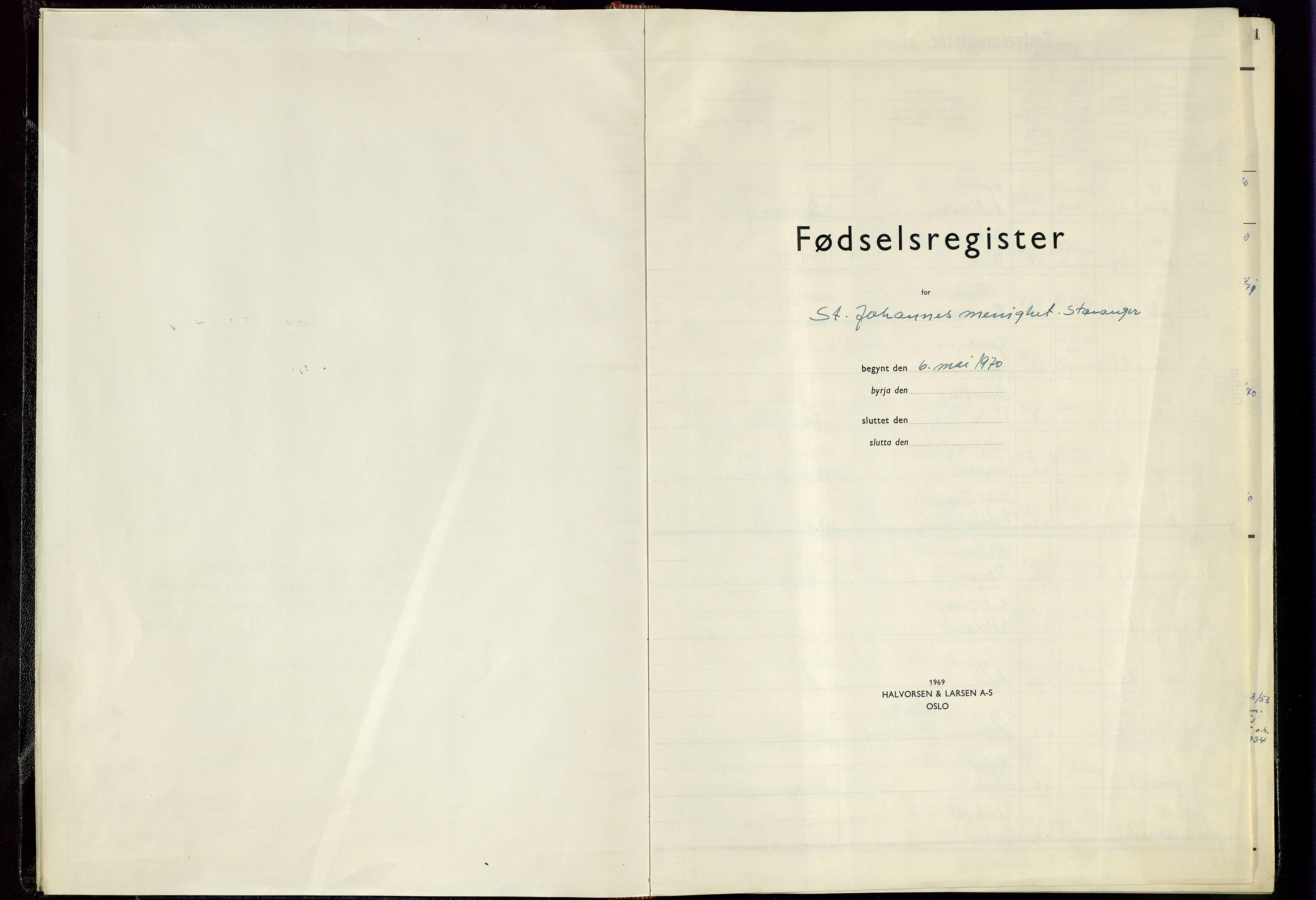 SAST, St. Johannes sokneprestkontor, 904CA/904/904CA: Fødselsregister nr. 8, 1970-1982