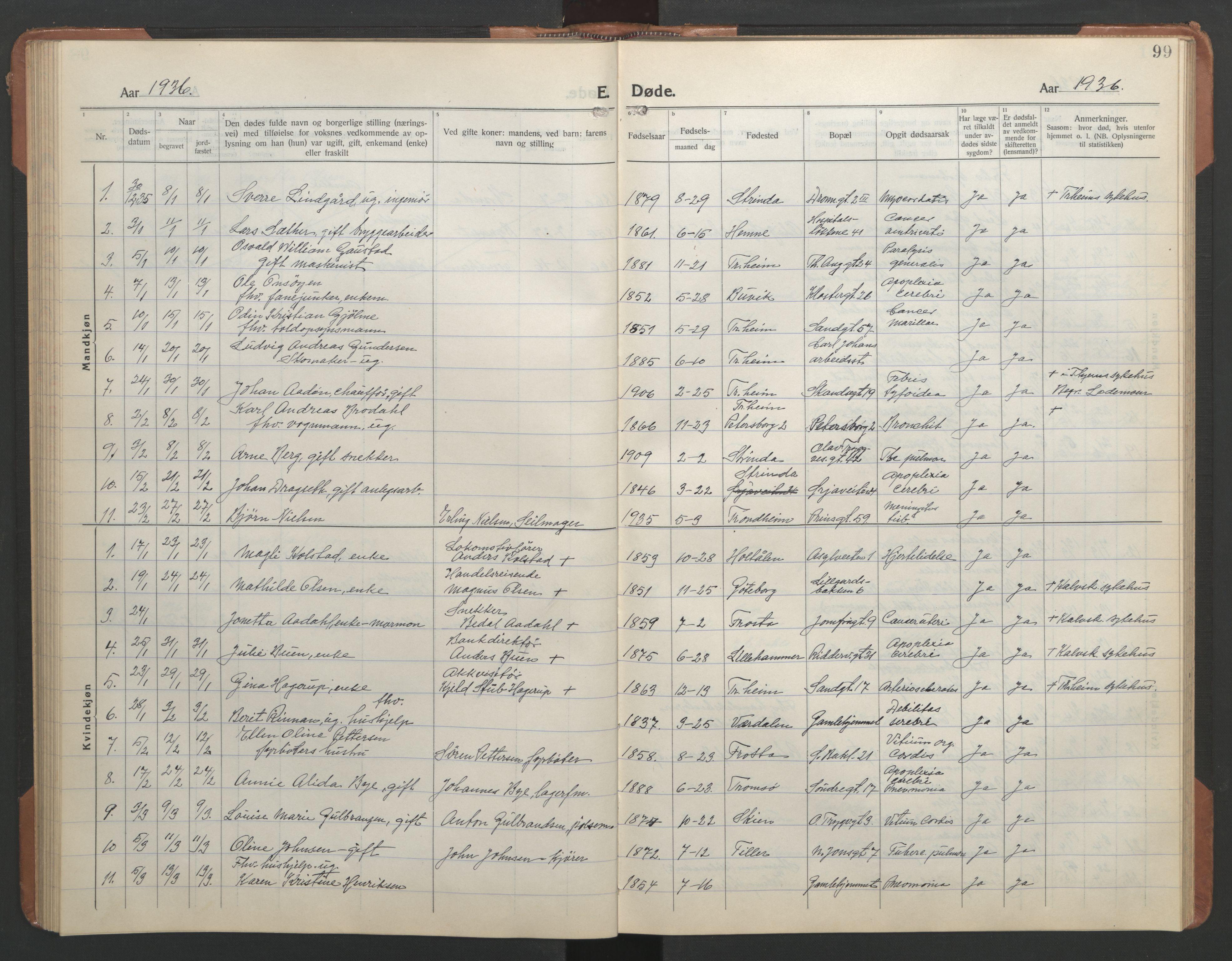 SAT, Ministerialprotokoller, klokkerbøker og fødselsregistre - Sør-Trøndelag, 602/L0150: Klokkerbok nr. 602C18, 1922-1949, s. 99