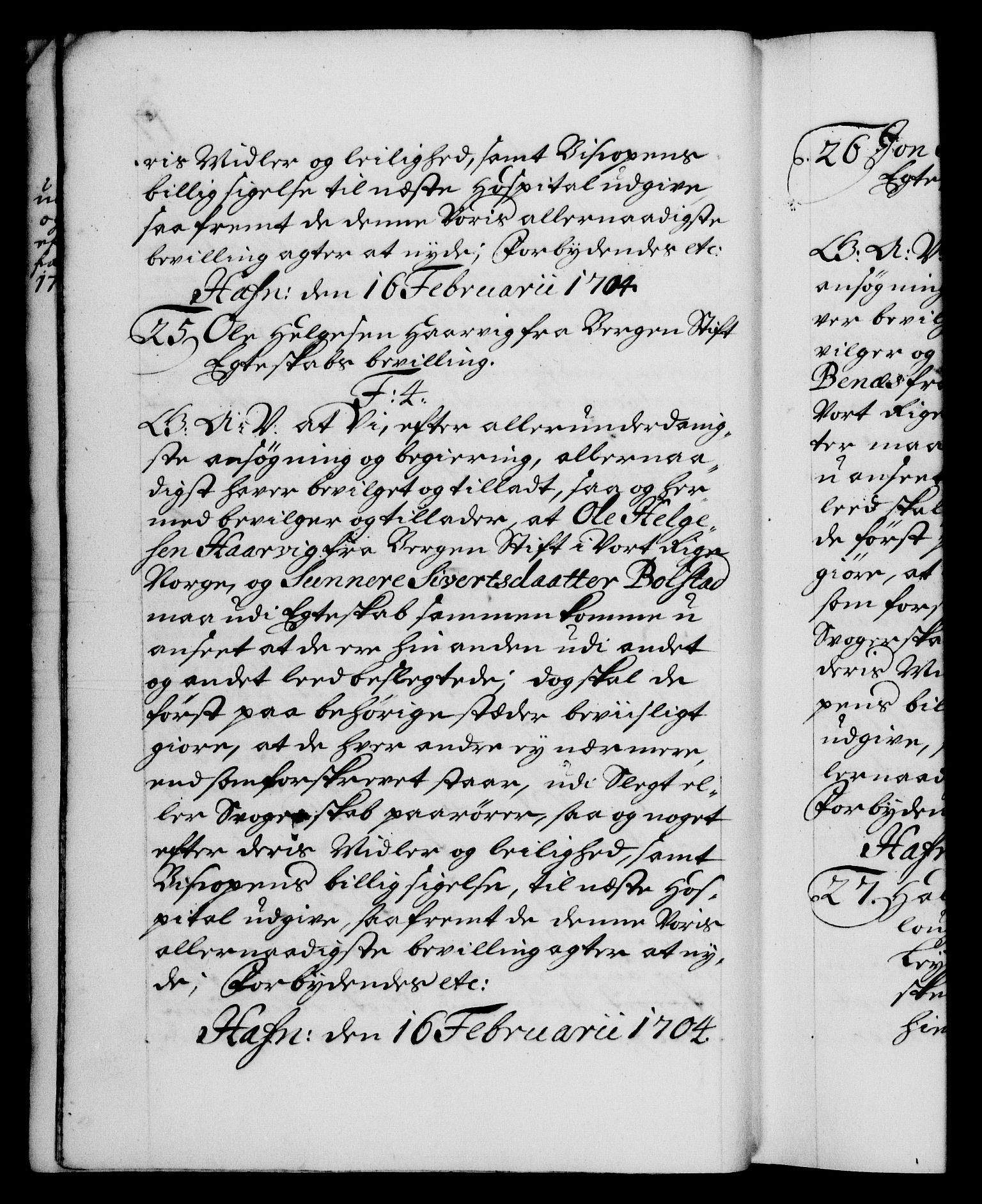 RA, Danske Kanselli 1572-1799, F/Fc/Fca/Fcaa/L0019: Norske registre, 1704-1707, s. 17b