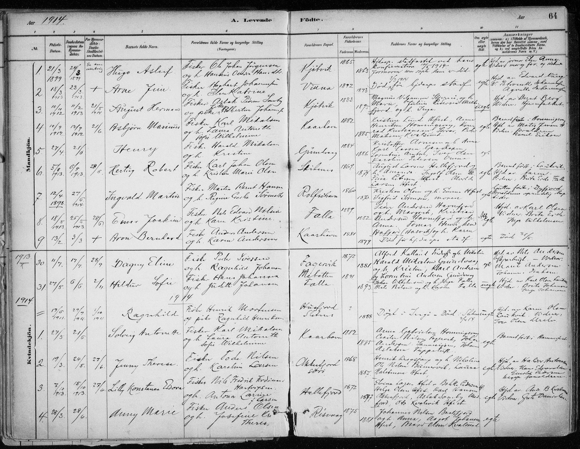 SATØ, Hammerfest sokneprestkontor, H/Ha/L0013.kirke: Ministerialbok nr. 13, 1898-1917, s. 64