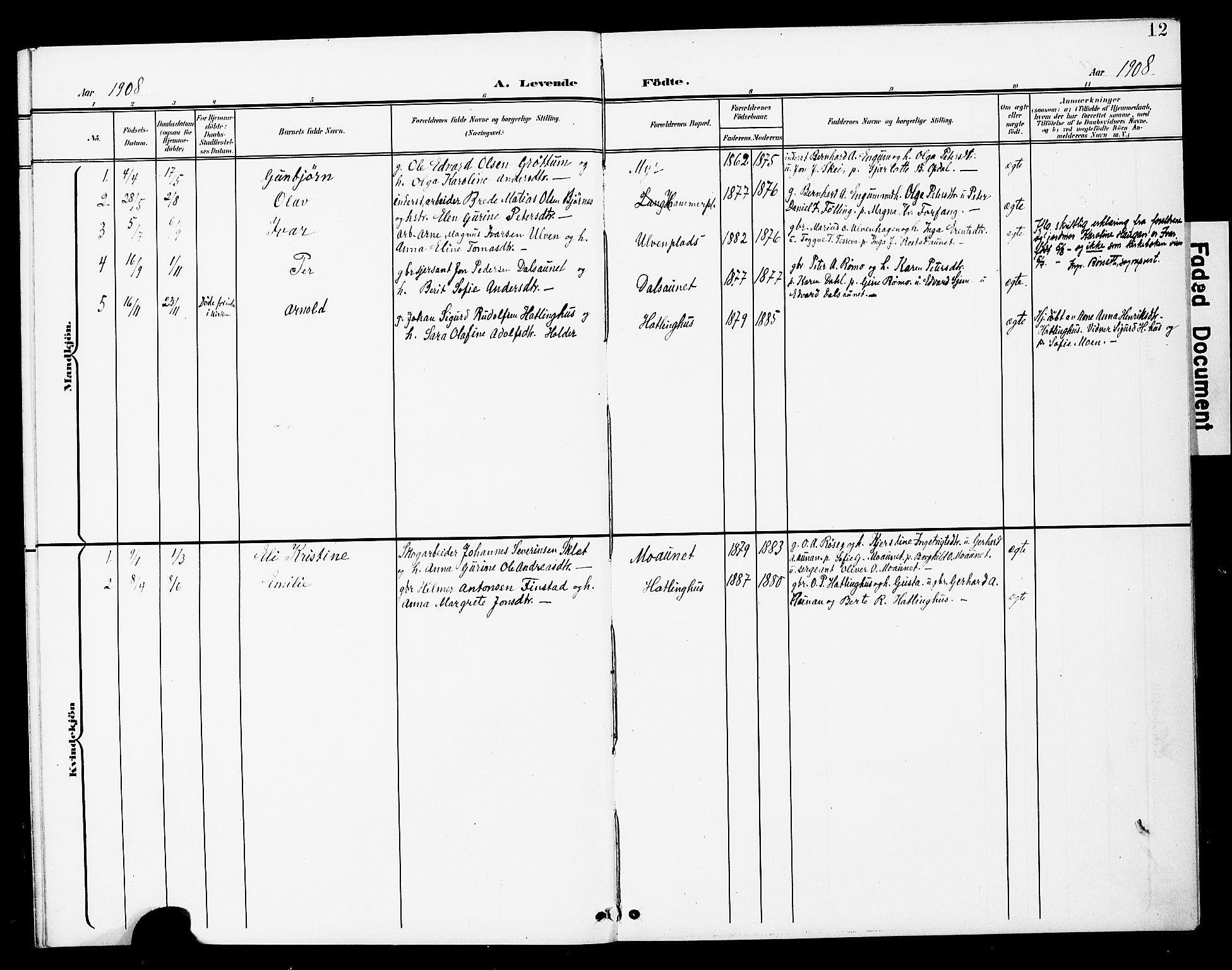 SAT, Ministerialprotokoller, klokkerbøker og fødselsregistre - Nord-Trøndelag, 748/L0464: Ministerialbok nr. 748A01, 1900-1908, s. 12