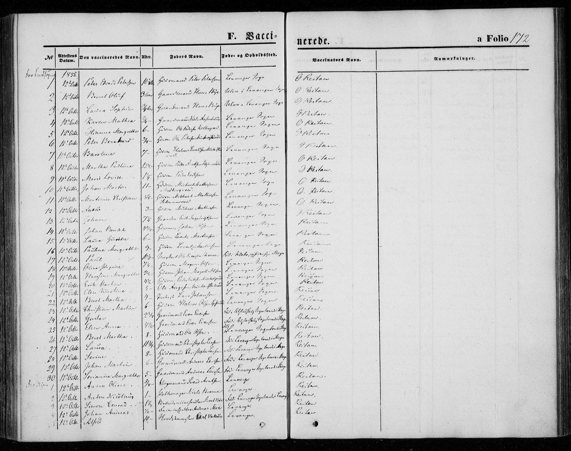 SAT, Ministerialprotokoller, klokkerbøker og fødselsregistre - Nord-Trøndelag, 720/L0184: Ministerialbok nr. 720A02 /1, 1855-1863, s. 172