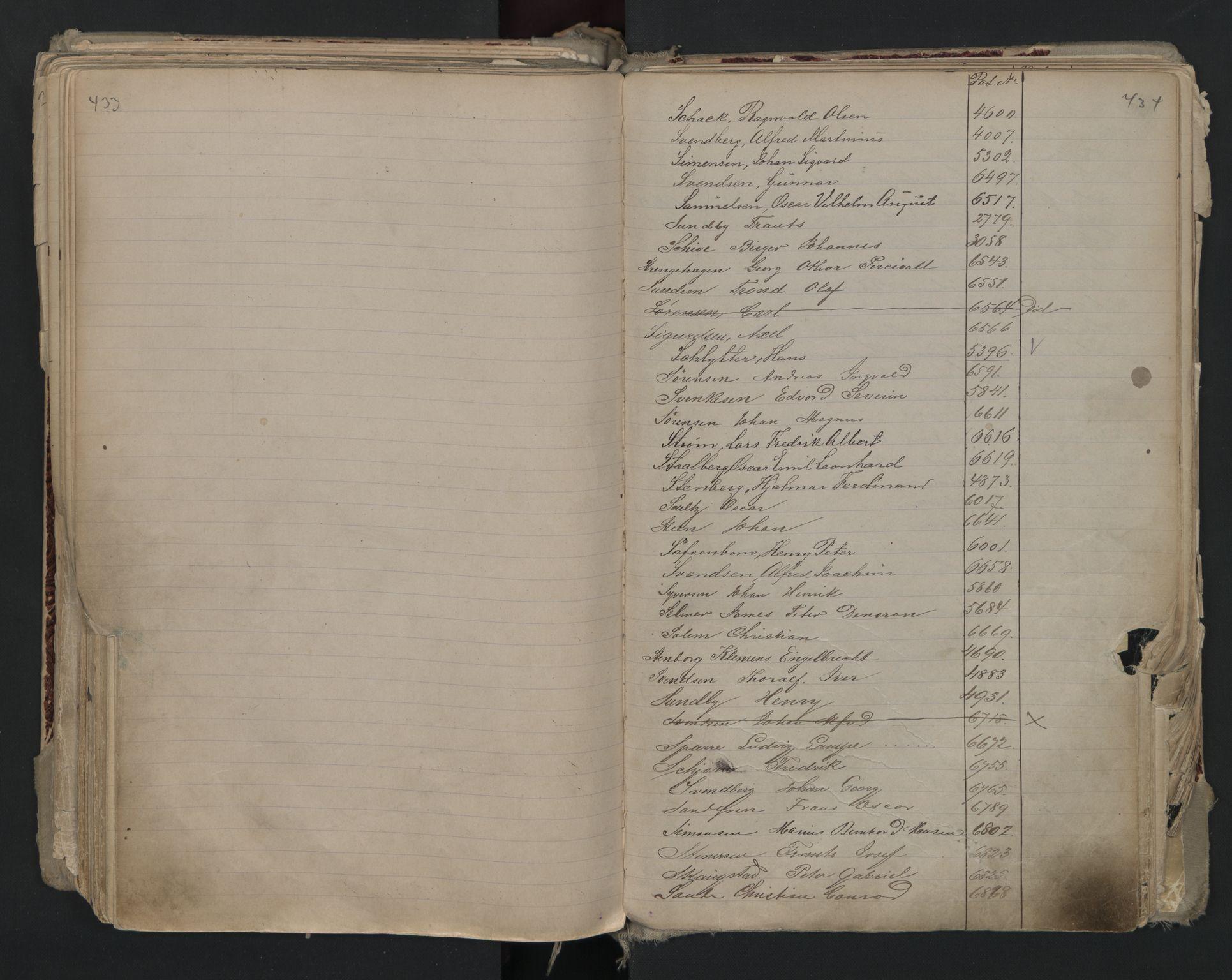 SAO, Oslo sjømannskontor, F/Fa/L0002: Register for Kristiania krets, 1866-1930, s. 433-434