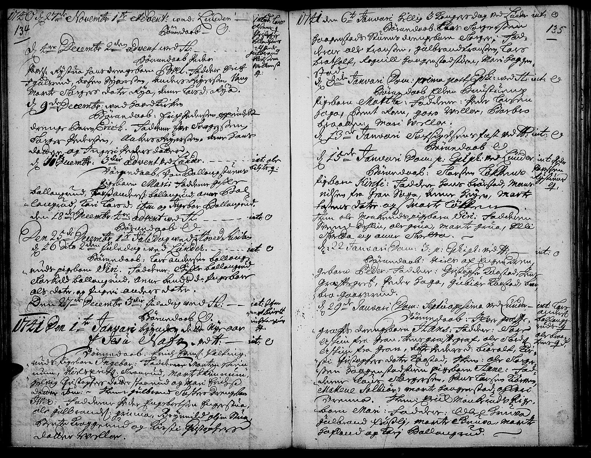 SAH, Jevnaker prestekontor, Ministerialbok nr. 2, 1725-1751, s. 134-135