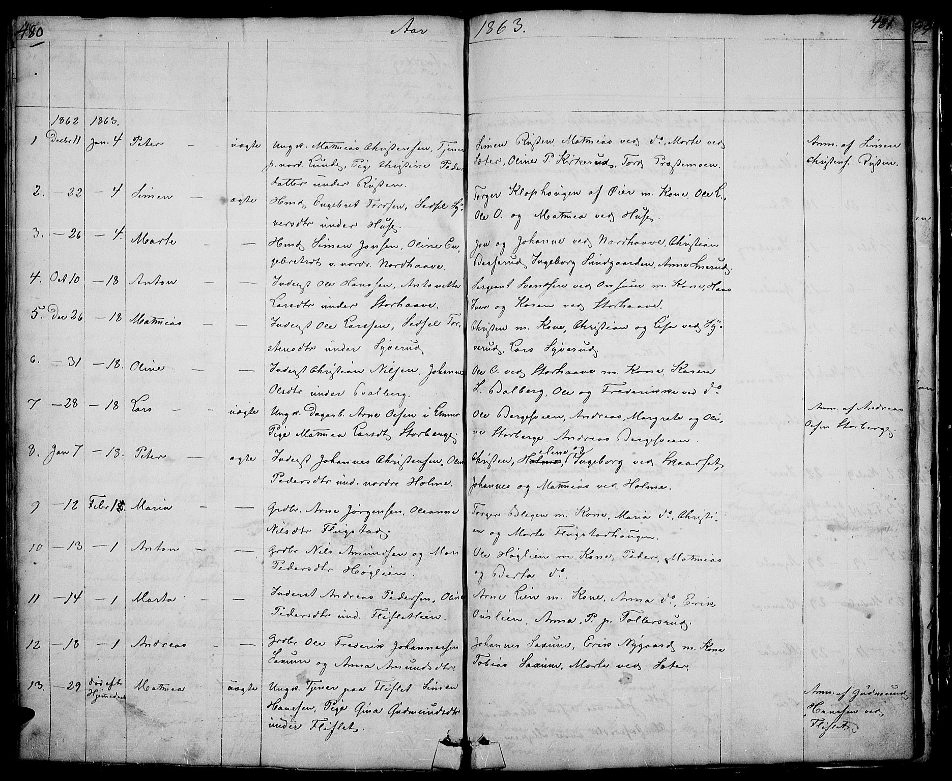 SAH, Fåberg prestekontor, Klokkerbok nr. 5, 1837-1864, s. 480-481