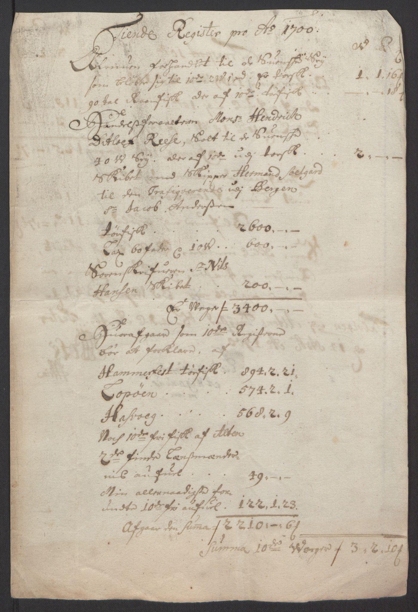 RA, Rentekammeret inntil 1814, Reviderte regnskaper, Fogderegnskap, R69/L4851: Fogderegnskap Finnmark/Vardøhus, 1691-1700, s. 448