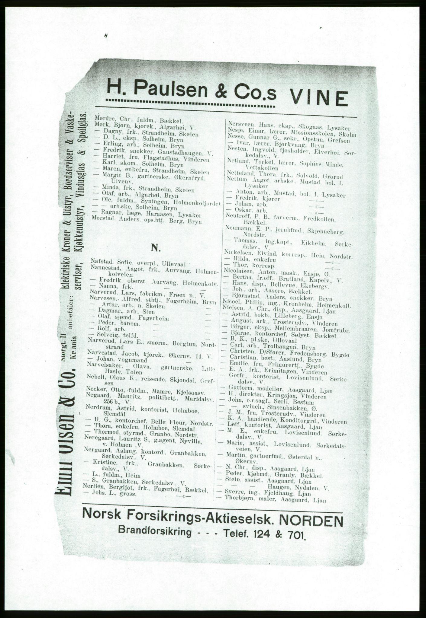 RA, Aker adressebok/adressekalender (publikasjon)*, 1916-1917, s. 82