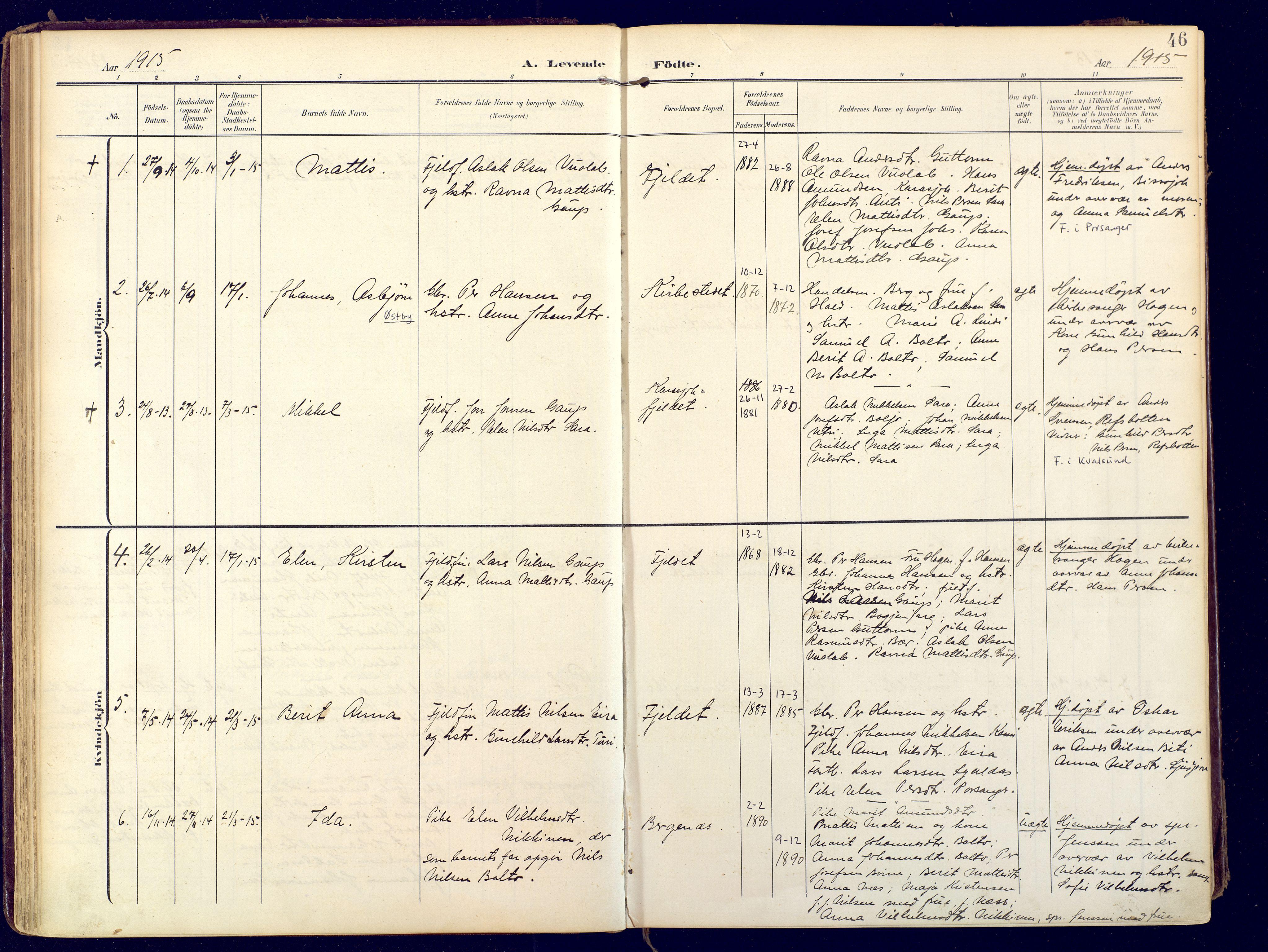 SATØ, Karasjok sokneprestkontor, H/Ha: Ministerialbok nr. 3, 1907-1926, s. 46