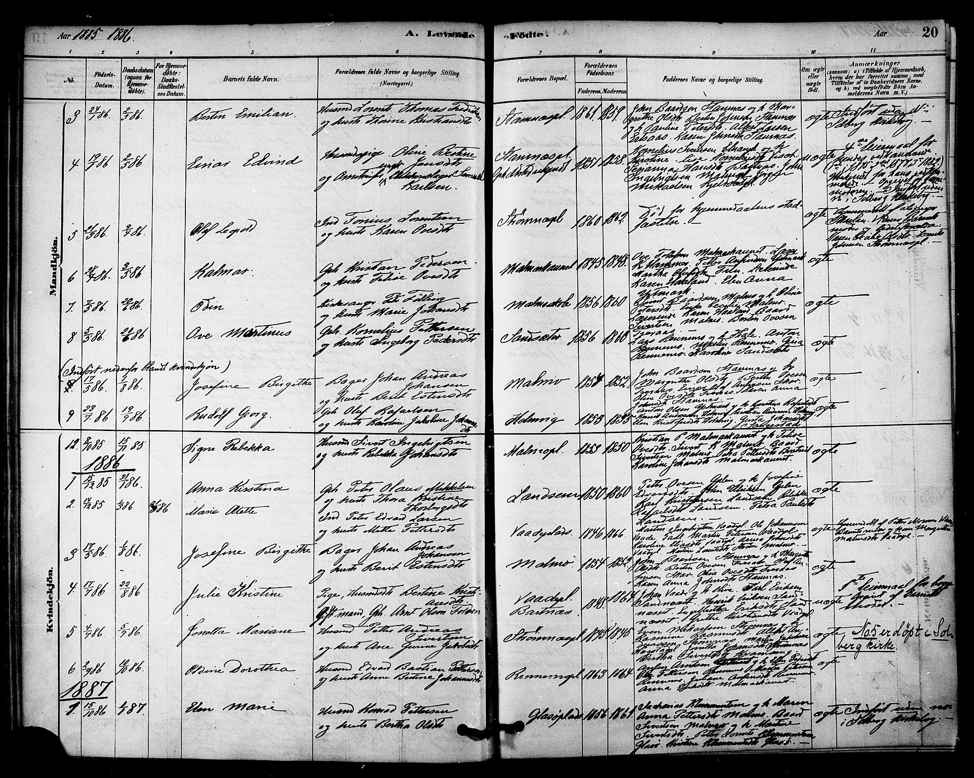 SAT, Ministerialprotokoller, klokkerbøker og fødselsregistre - Nord-Trøndelag, 745/L0429: Ministerialbok nr. 745A01, 1878-1894, s. 20