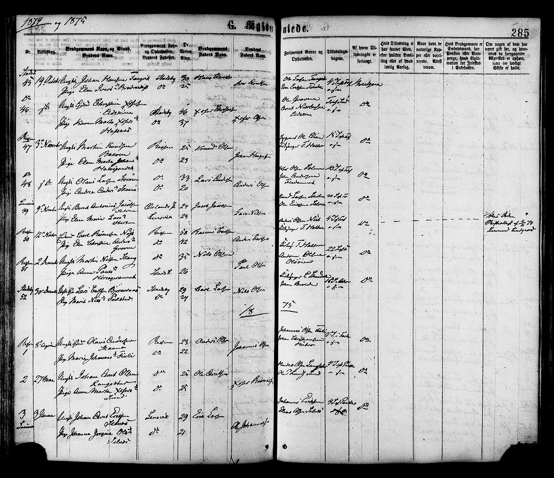 SAT, Ministerialprotokoller, klokkerbøker og fødselsregistre - Sør-Trøndelag, 646/L0613: Ministerialbok nr. 646A11, 1870-1884, s. 285