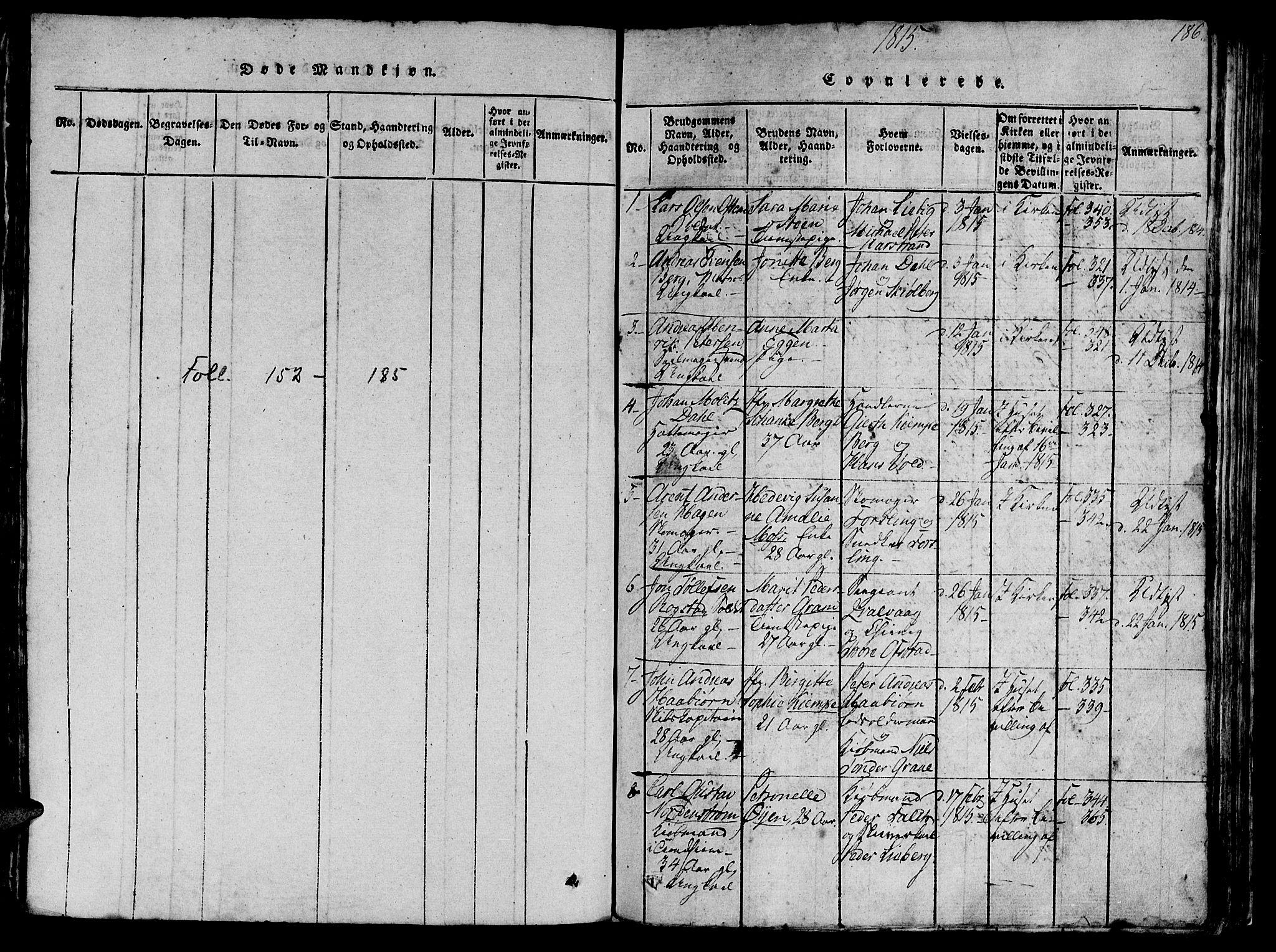 SAT, Ministerialprotokoller, klokkerbøker og fødselsregistre - Sør-Trøndelag, 602/L0135: Klokkerbok nr. 602C03, 1815-1832, s. 186