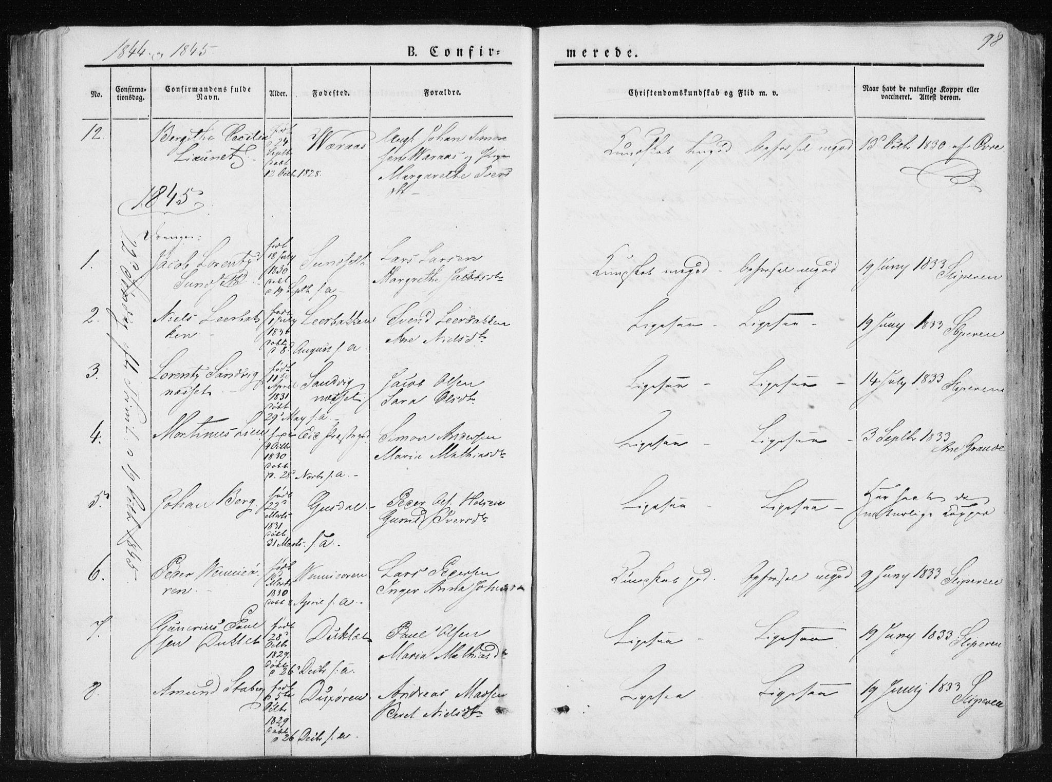 SAT, Ministerialprotokoller, klokkerbøker og fødselsregistre - Nord-Trøndelag, 733/L0323: Ministerialbok nr. 733A02, 1843-1870, s. 98