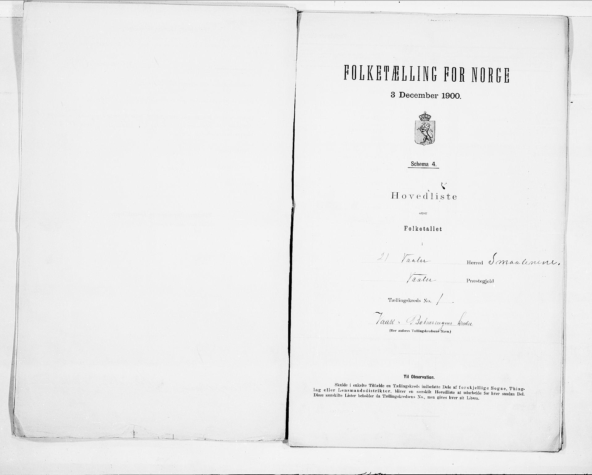 SAO, Folketelling 1900 for 0137 Våler herred, 1900, s. 4