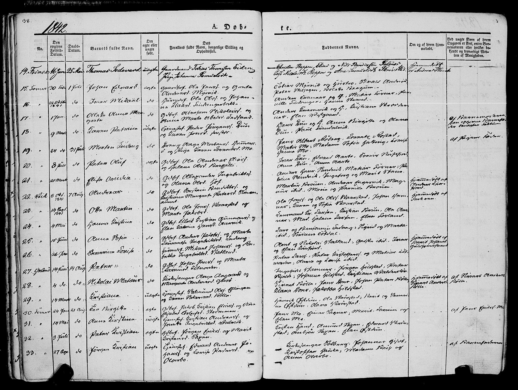 SAT, Ministerialprotokoller, klokkerbøker og fødselsregistre - Nord-Trøndelag, 773/L0614: Ministerialbok nr. 773A05, 1831-1856, s. 38