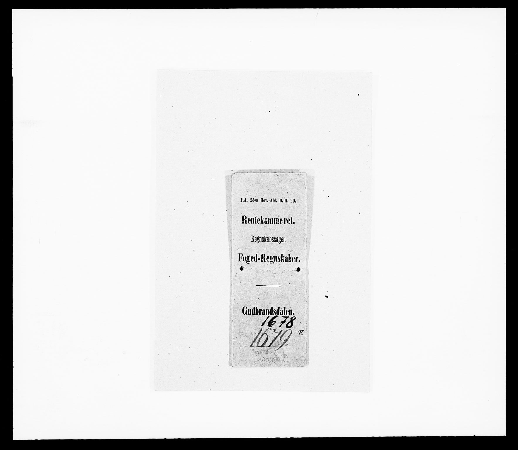 RA, Rentekammeret inntil 1814, Reviderte regnskaper, Fogderegnskap, R17/L1153: Fogderegnskap Gudbrandsdal, 1678-1679, s. 1