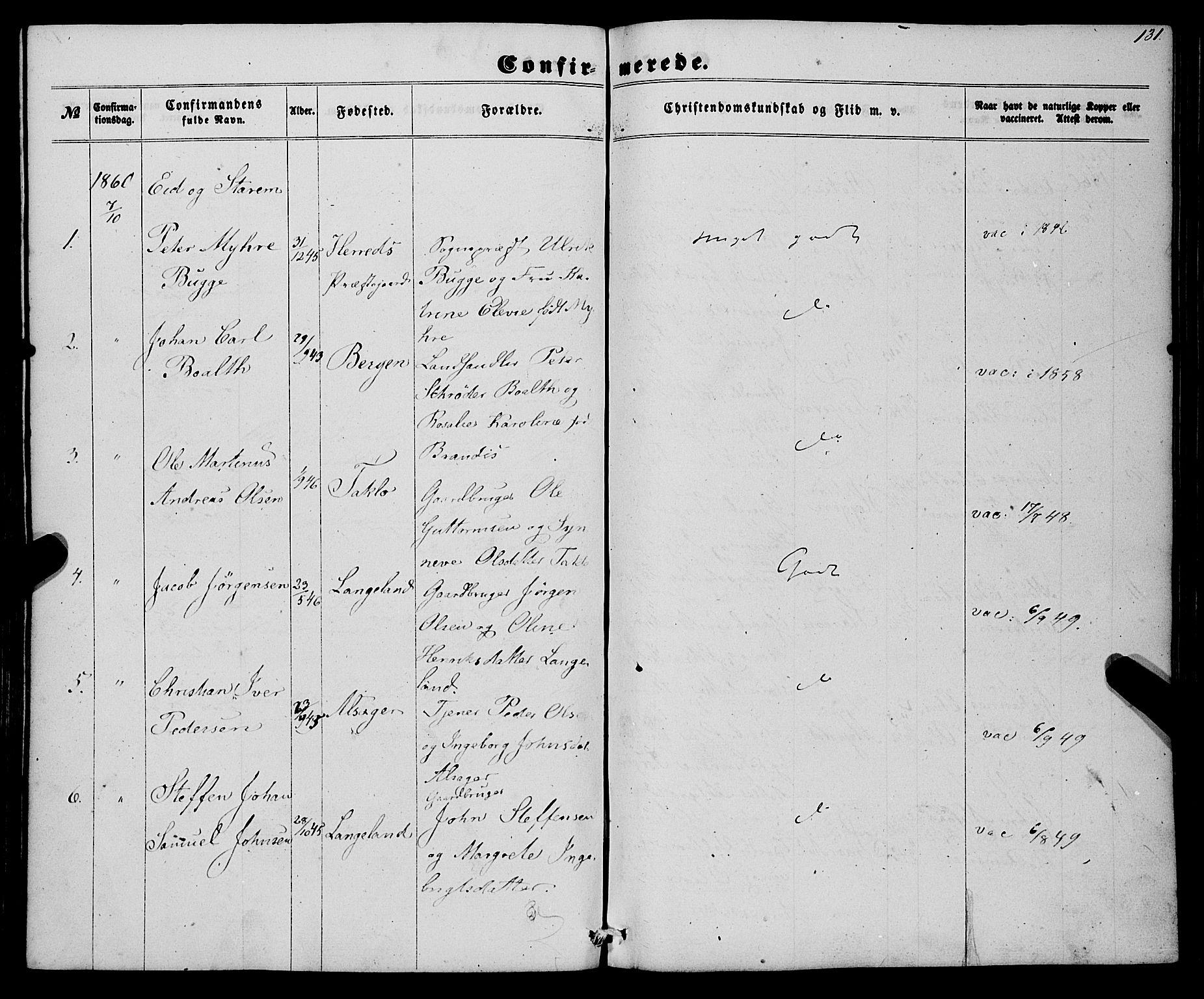 SAB, Eid Sokneprestembete, H/Haa: Ministerialbok nr. A 8, 1858-1860, s. 131