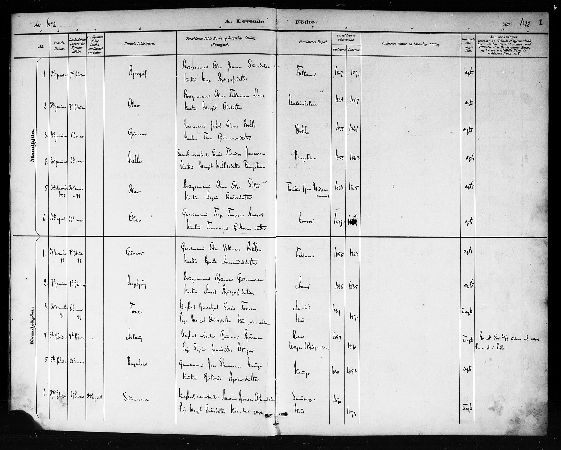 SAKO, Mo kirkebøker, G/Ga/L0002: Klokkerbok nr. I 2, 1892-1914, s. 1