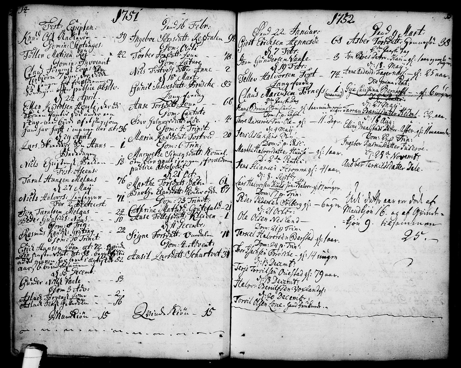 SAKO, Drangedal kirkebøker, F/Fa/L0001: Ministerialbok nr. 1, 1697-1767, s. 14-15