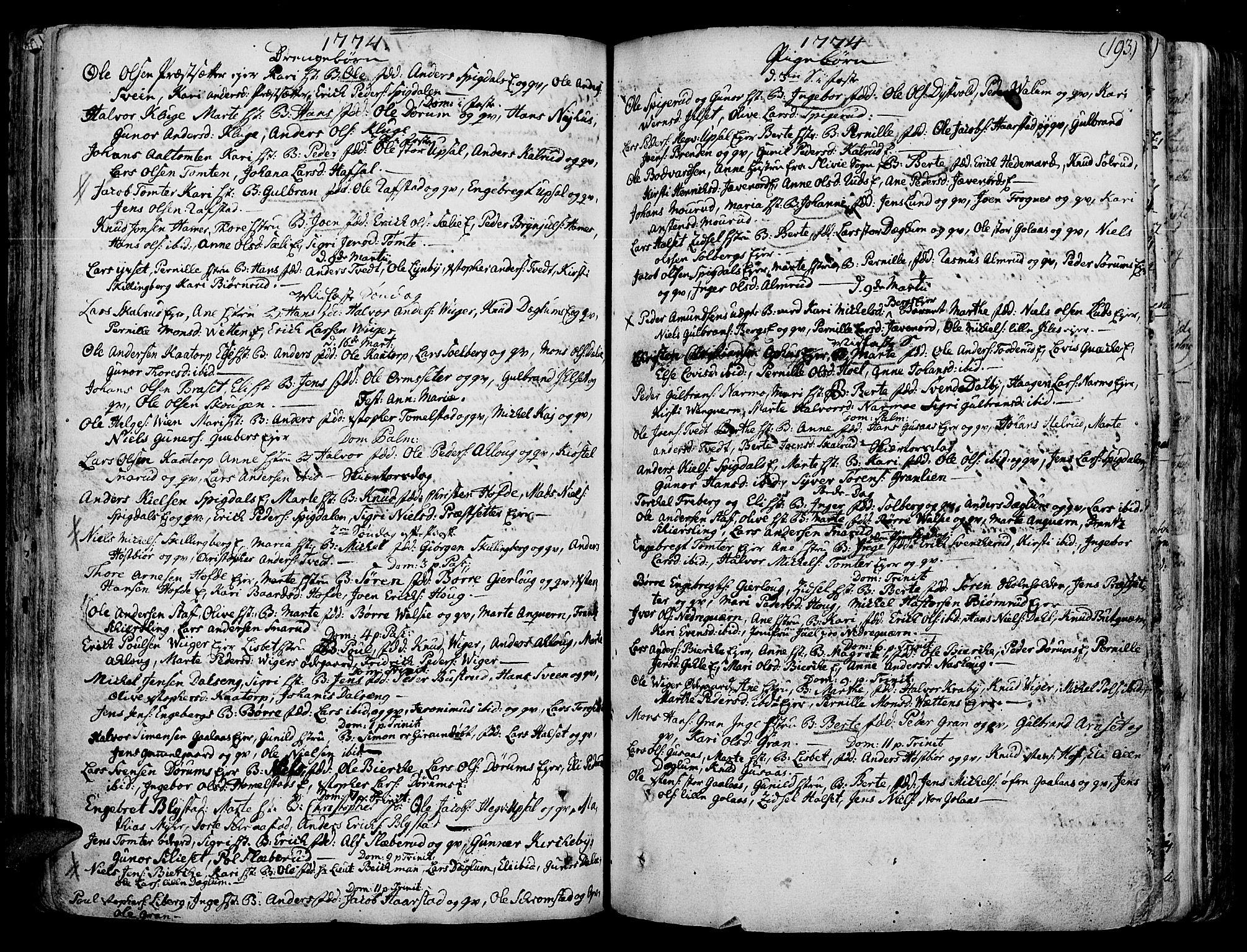 SAH, Vang prestekontor, Hedmark, H/Ha/Haa/L0003: Ministerialbok nr. 3, 1734-1809, s. 193