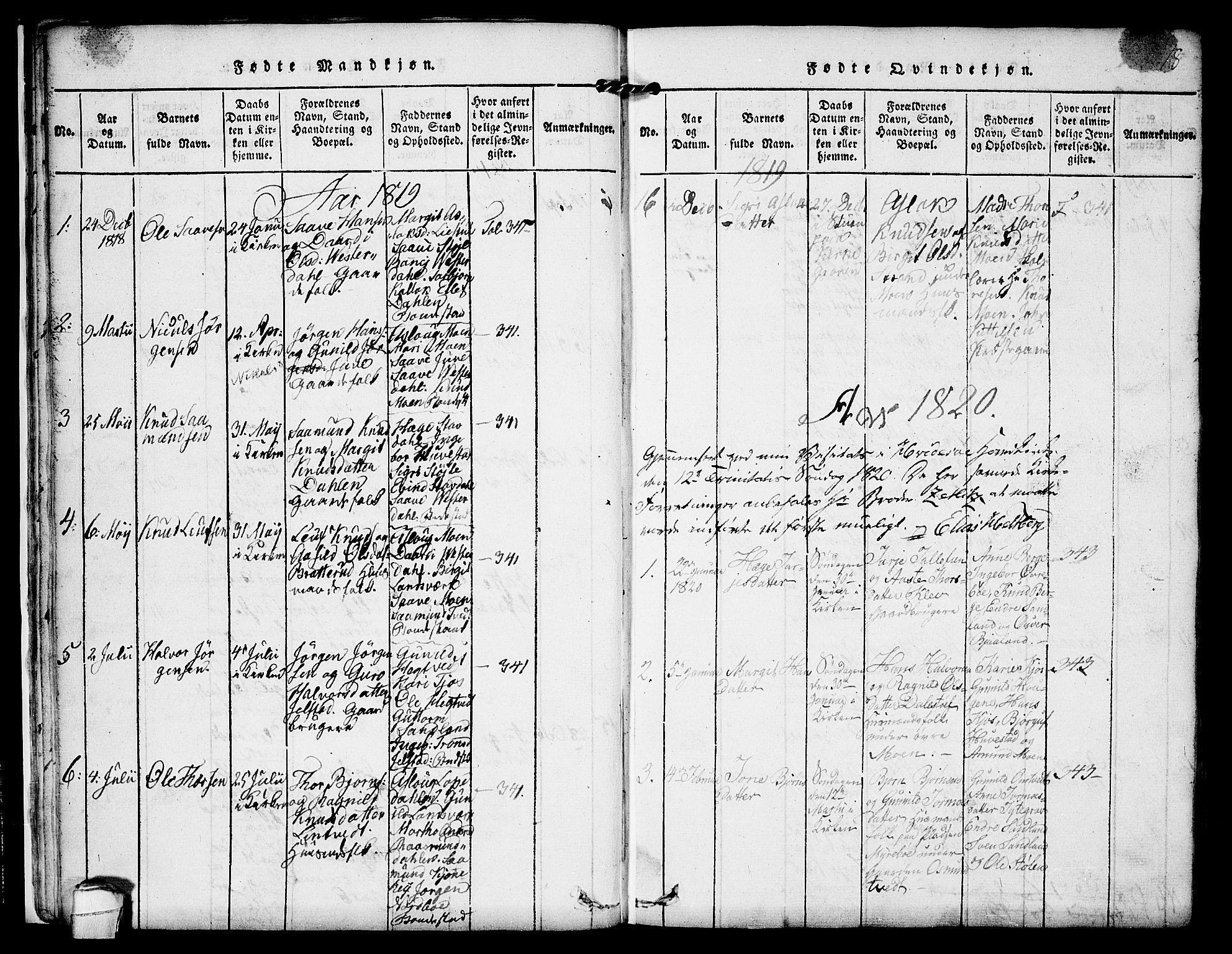 SAKO, Kviteseid kirkebøker, F/Fb/L0001: Ministerialbok nr. II 1, 1815-1836, s. 18