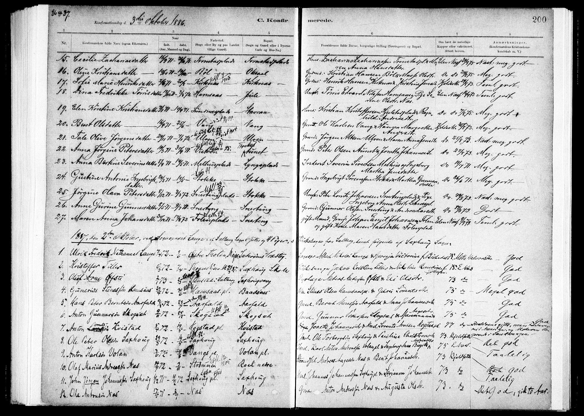 SAT, Ministerialprotokoller, klokkerbøker og fødselsregistre - Nord-Trøndelag, 730/L0285: Ministerialbok nr. 730A10, 1879-1914, s. 200