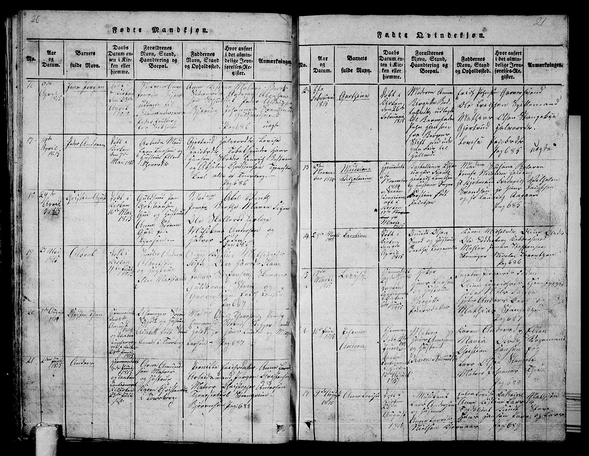 SAKO, Tønsberg kirkebøker, G/Ga/L0001: Klokkerbok nr. 1, 1813-1826, s. 20-21