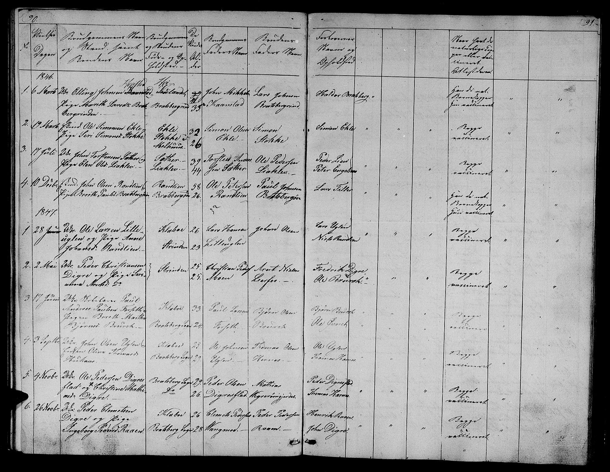 SAT, Ministerialprotokoller, klokkerbøker og fødselsregistre - Sør-Trøndelag, 608/L0339: Klokkerbok nr. 608C05, 1844-1863, s. 90-91