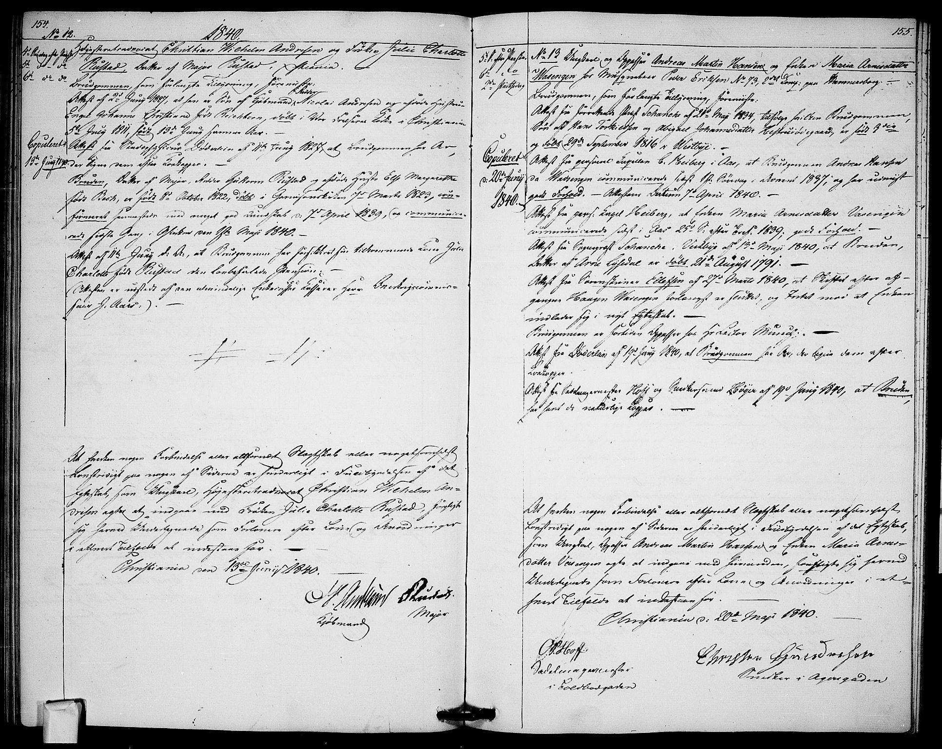 SAO, Garnisonsmenigheten Kirkebøker, H/Ha/L0003: Lysningsprotokoll nr. I 3, 1835-1840, s. 154-155