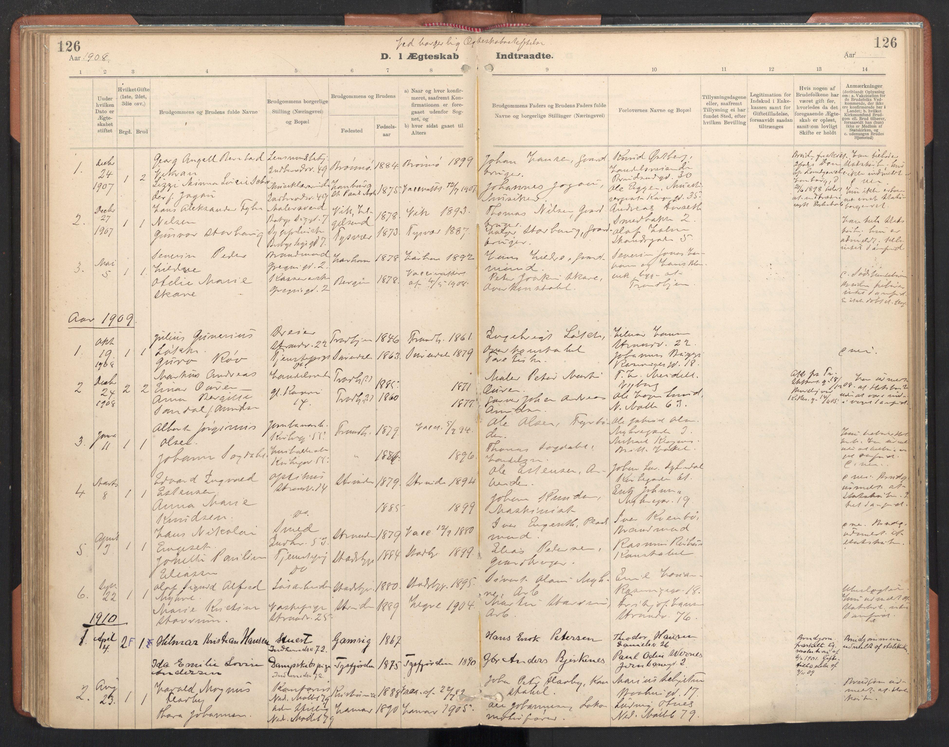 SAT, Ministerialprotokoller, klokkerbøker og fødselsregistre - Sør-Trøndelag, 605/L0244: Ministerialbok nr. 605A06, 1908-1954, s. 126
