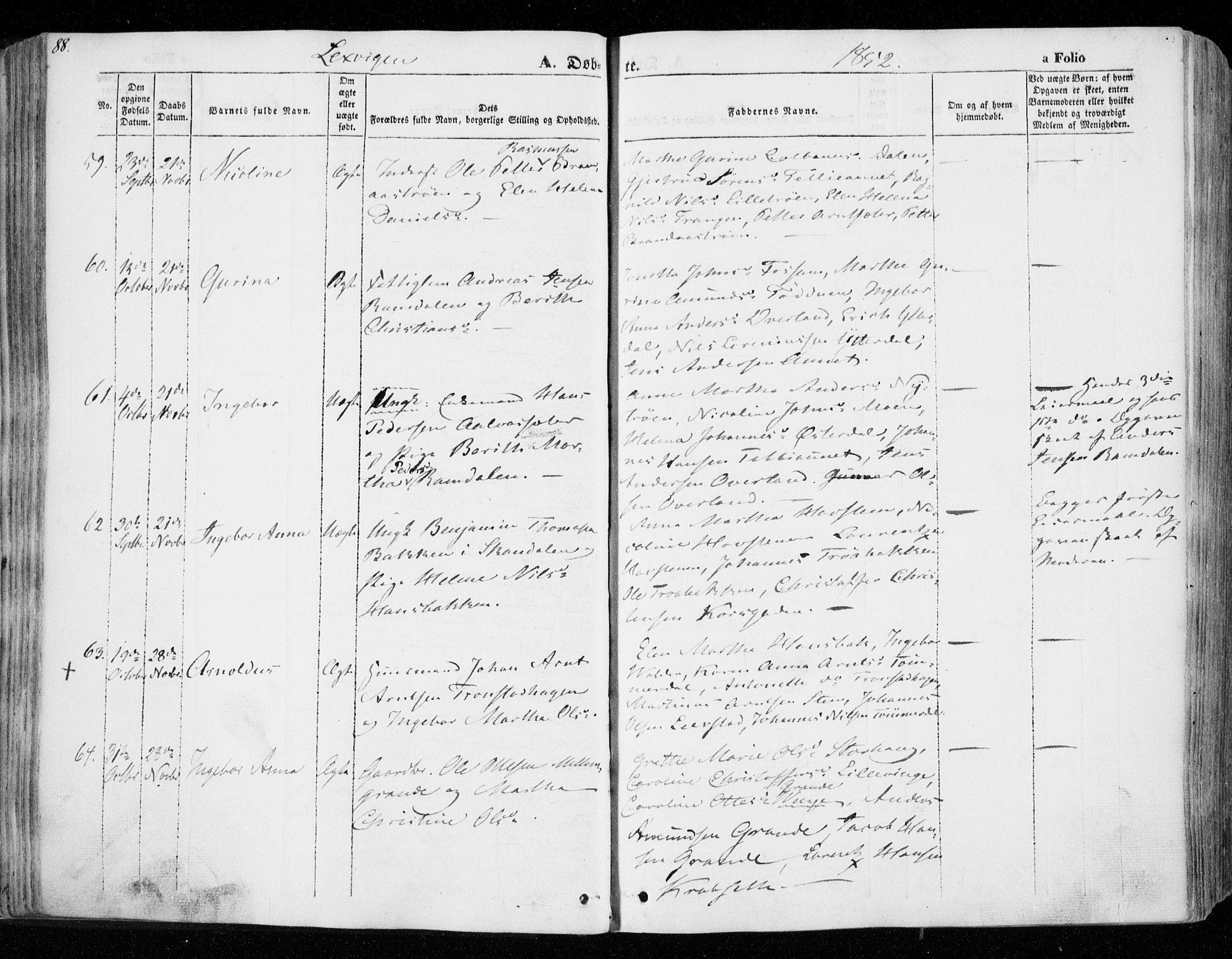 SAT, Ministerialprotokoller, klokkerbøker og fødselsregistre - Nord-Trøndelag, 701/L0007: Ministerialbok nr. 701A07 /1, 1842-1854, s. 88