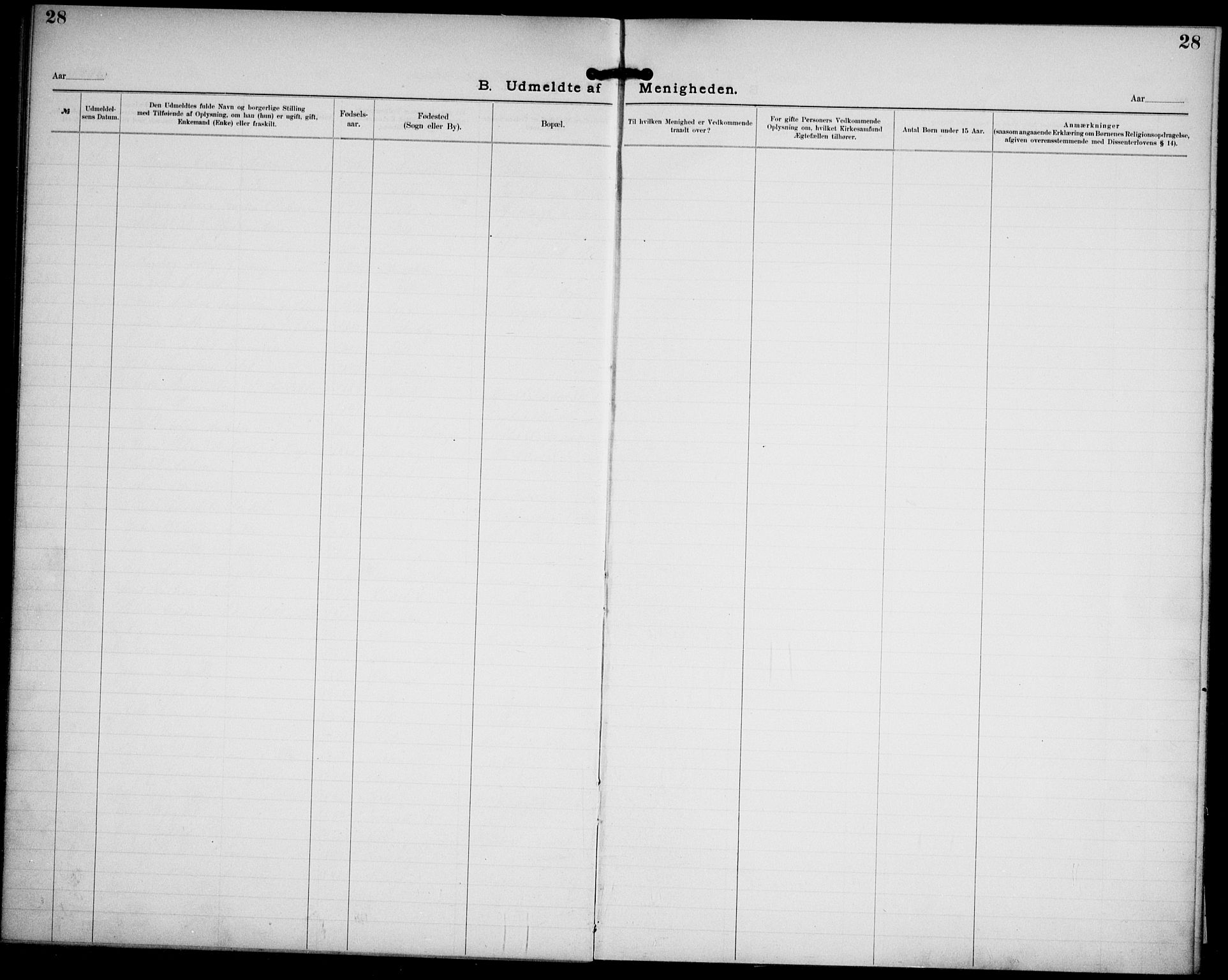 SAO, Kristi menighet Oslo , A/L0001: Dissenterprotokoll nr. 1, 1903-1938, s. 28