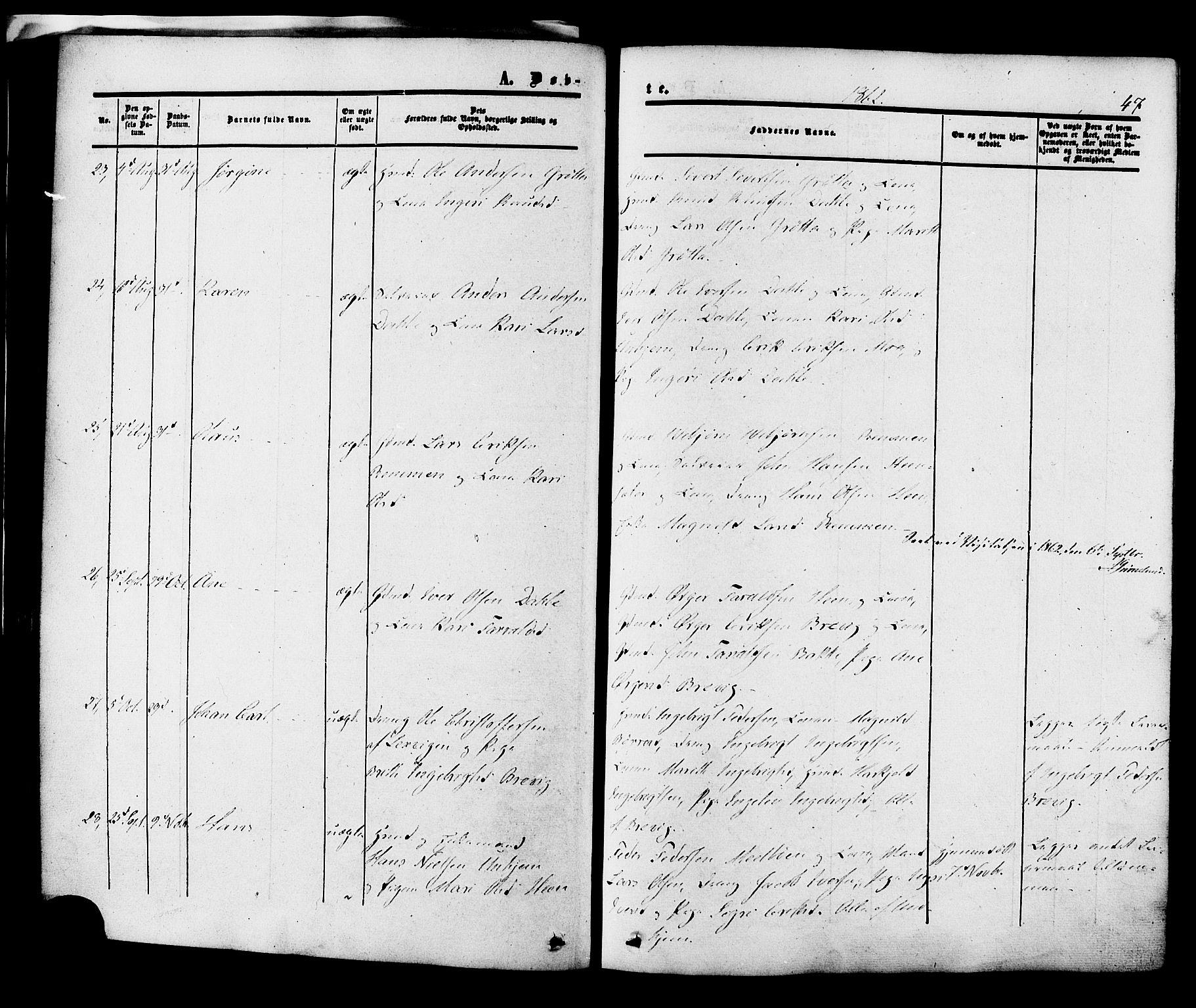 SAT, Ministerialprotokoller, klokkerbøker og fødselsregistre - Møre og Romsdal, 545/L0586: Ministerialbok nr. 545A02, 1854-1877, s. 47