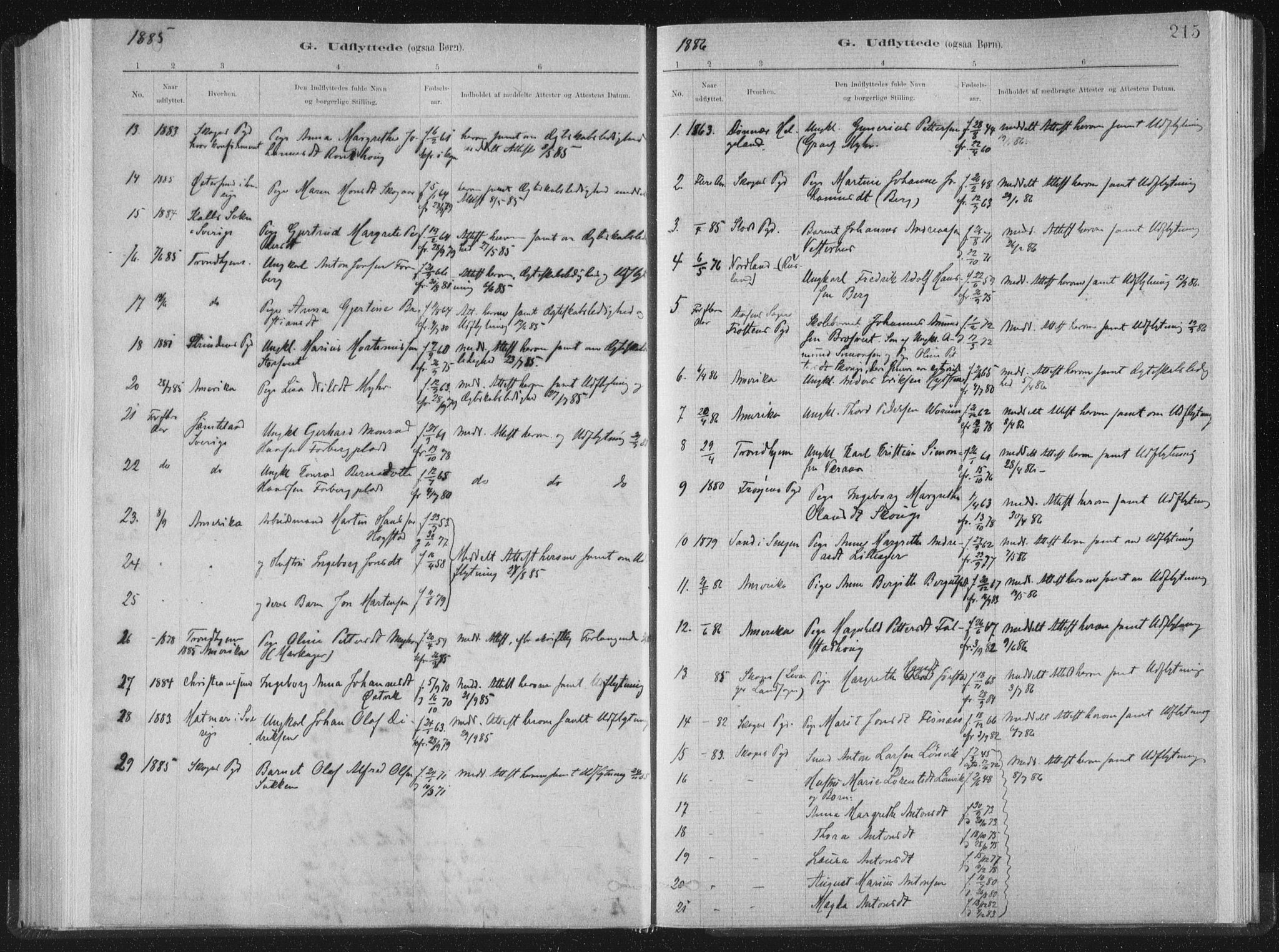 SAT, Ministerialprotokoller, klokkerbøker og fødselsregistre - Nord-Trøndelag, 722/L0220: Ministerialbok nr. 722A07, 1881-1908, s. 215