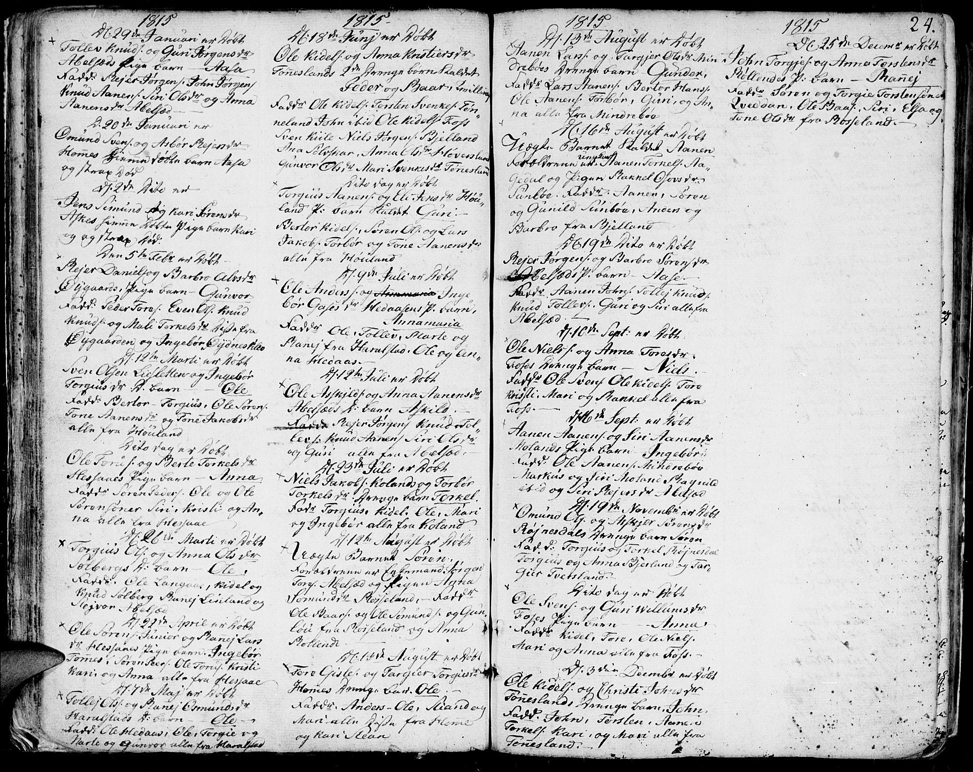 SAK, Bjelland sokneprestkontor, F/Fa/Faa/L0001: Ministerialbok nr. A 1 /1, 1793-1815, s. 24