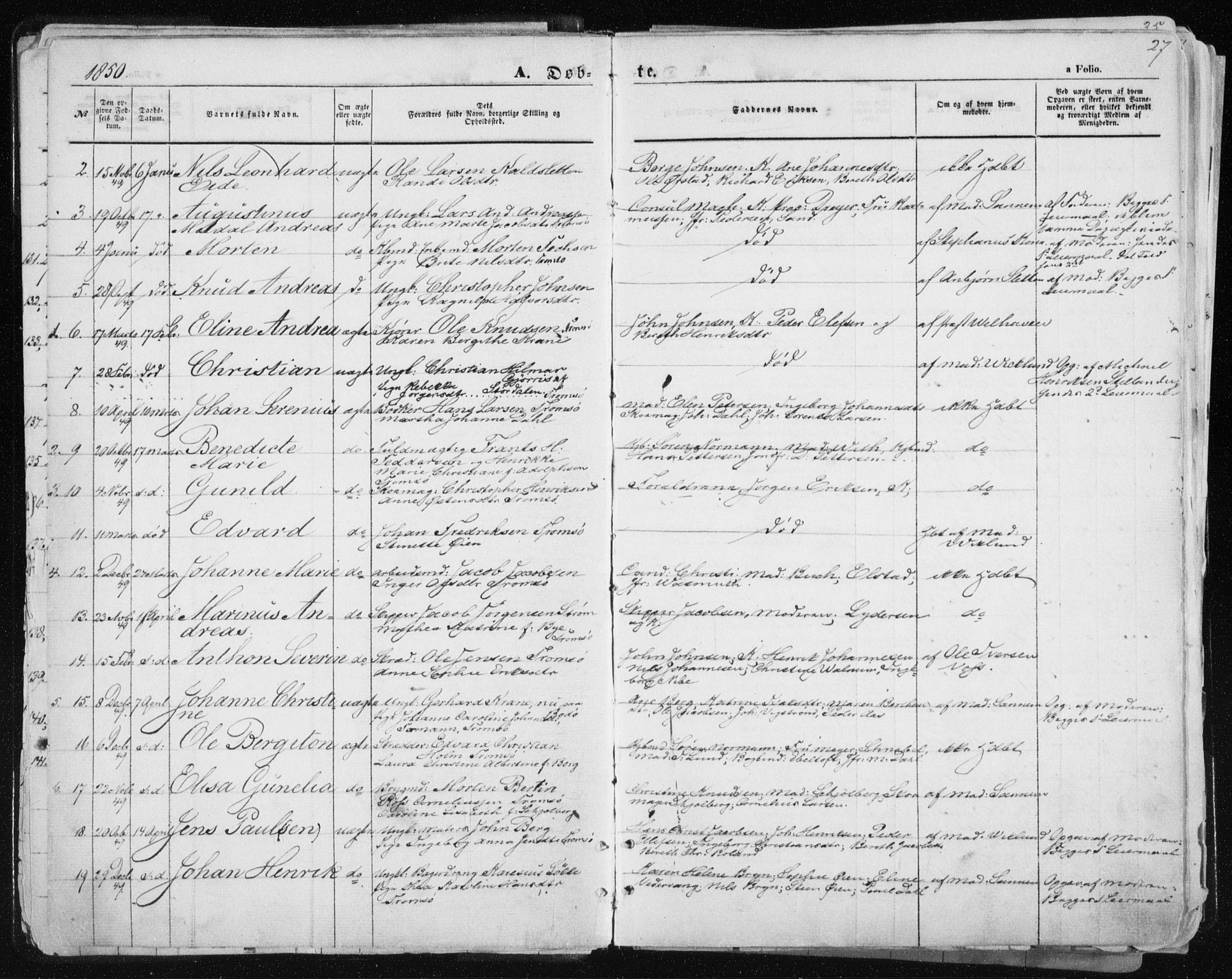 SATØ, Tromsø sokneprestkontor/stiftsprosti/domprosti, G/Ga/L0010kirke: Ministerialbok nr. 10, 1848-1855, s. 27